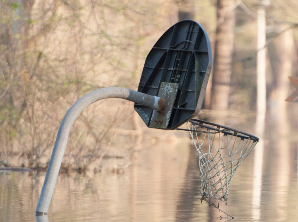 A basketball backboard and net sitting just above Yazoo River flood water in Vicksburg's Chickasaw subdivision gives an indication of water depth.