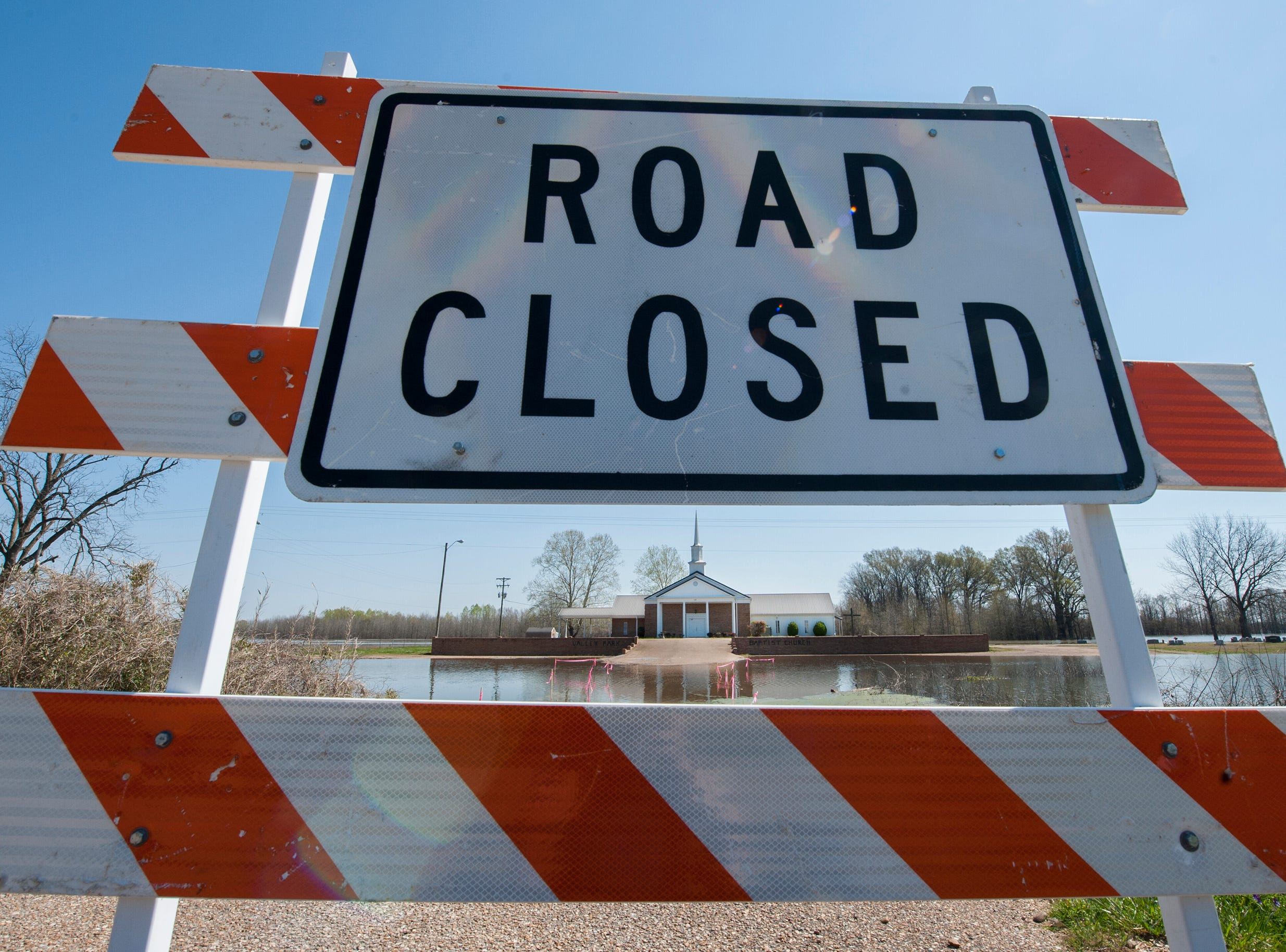 Valley Park Baptist Church on US 61 in Issaquena County remains shut off by backwater flooding Wednesday, March 19, 2019.