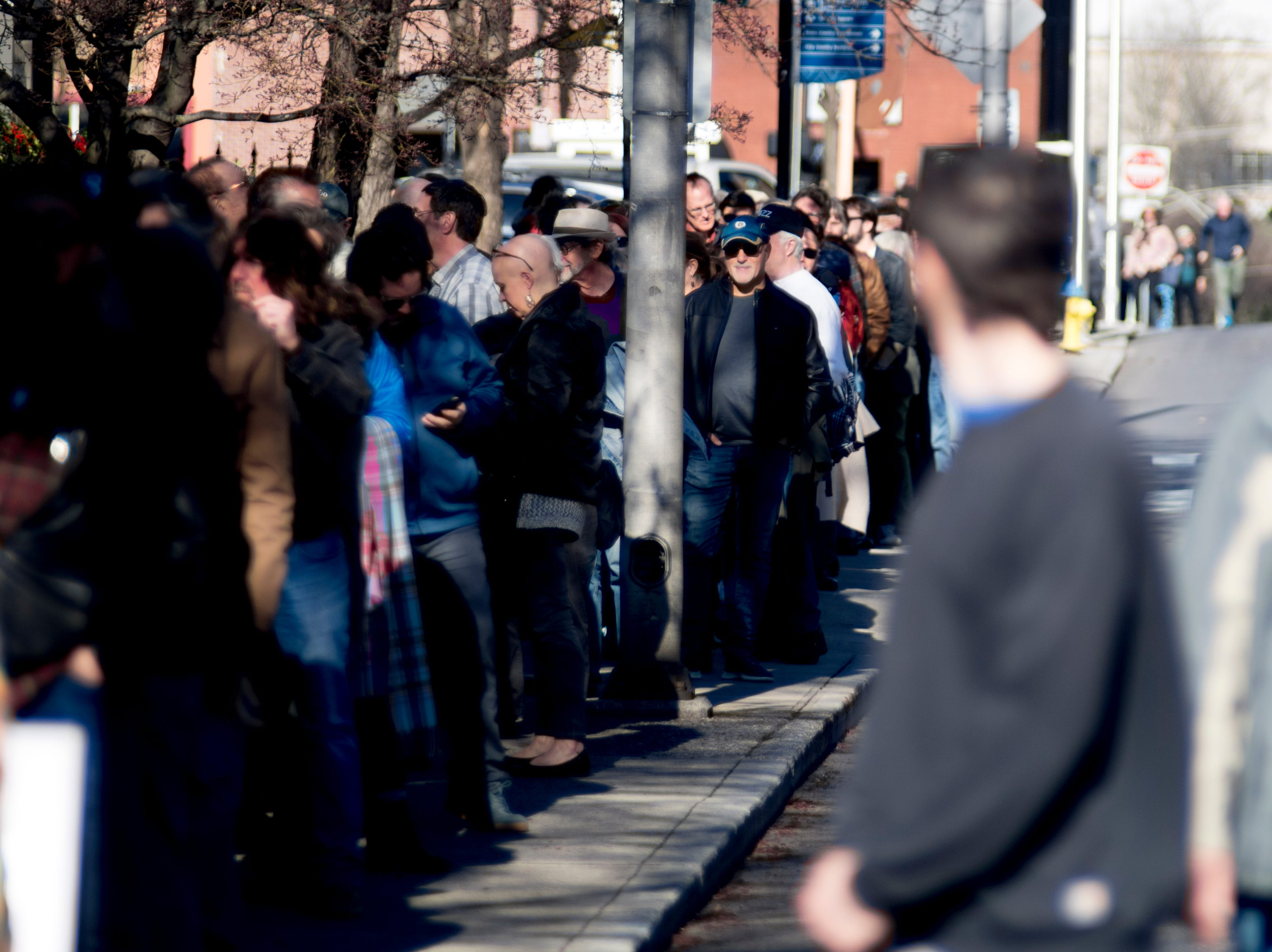 Fans line up to attend Ralph Towner at St. John's Episcopal Church during Big Ears Festival 2019 in Knoxville, Tennessee on Friday, March 22, 2019.