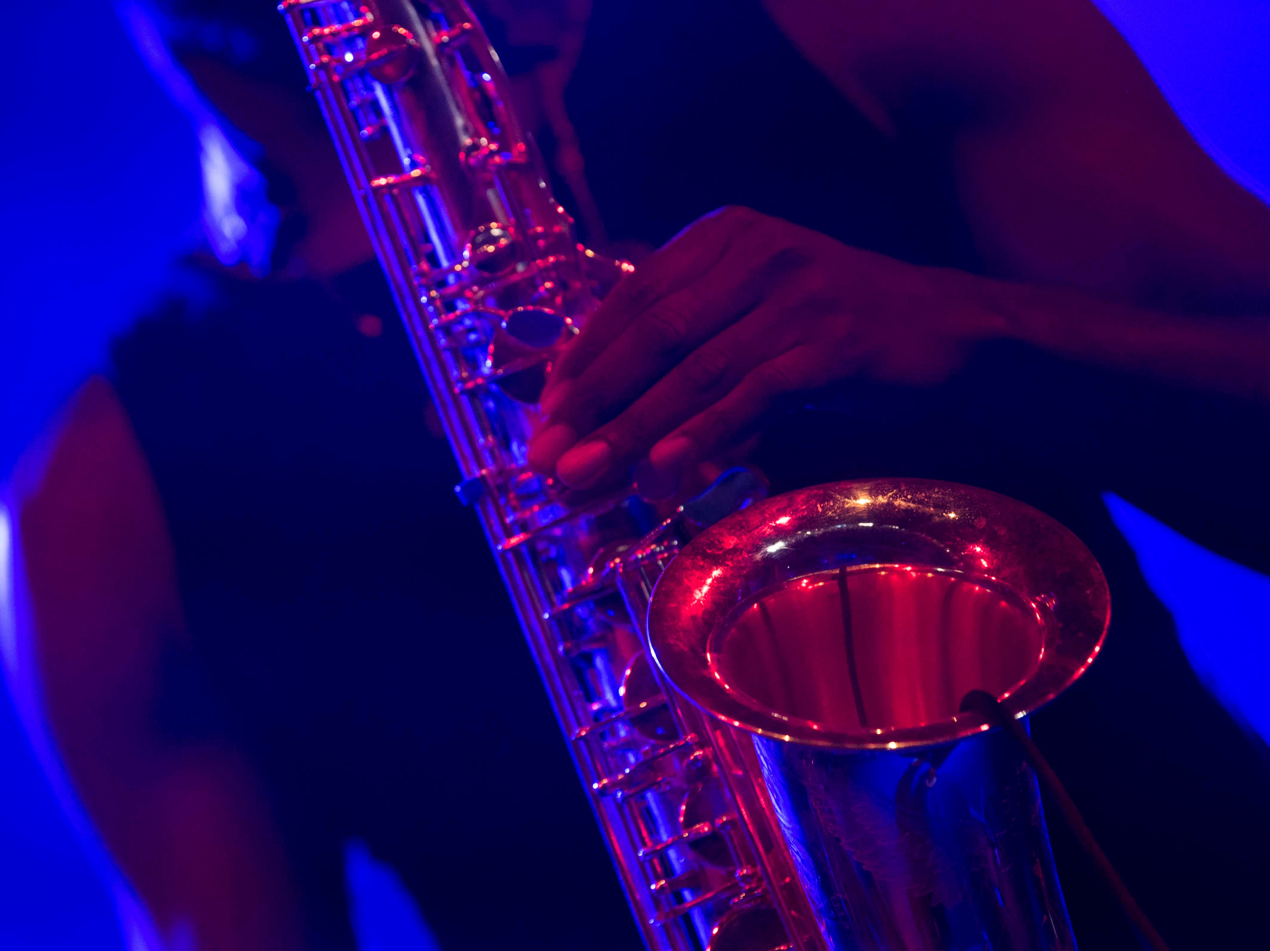 The Comet is Coming's saxophonist Shabaka Hutchings plays in The Mill & Mine during Big Ears Music Festival in downtown Knoxville Friday, March 22, 2019.