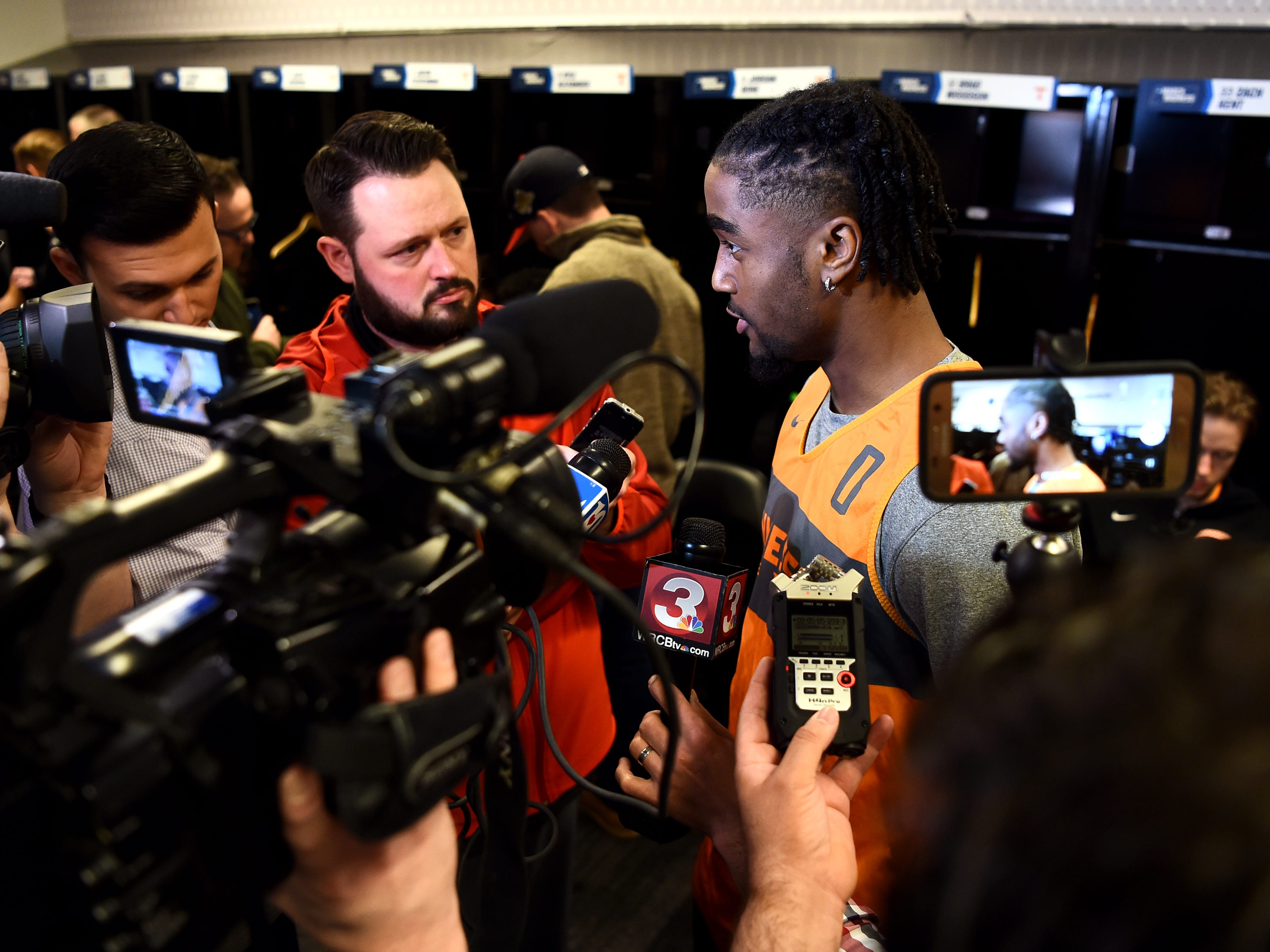 Tennessee guard Jordan Bone (0) speaks with members of the media on Saturday, March 23, 2019, before the Tennessee Volunteers and Iowa Hawkeyes compete against one another in the second round of the NCAA Tournament held at Nationwide Arena in Columbus, Ohio, on Sunday, March 24, 2019.