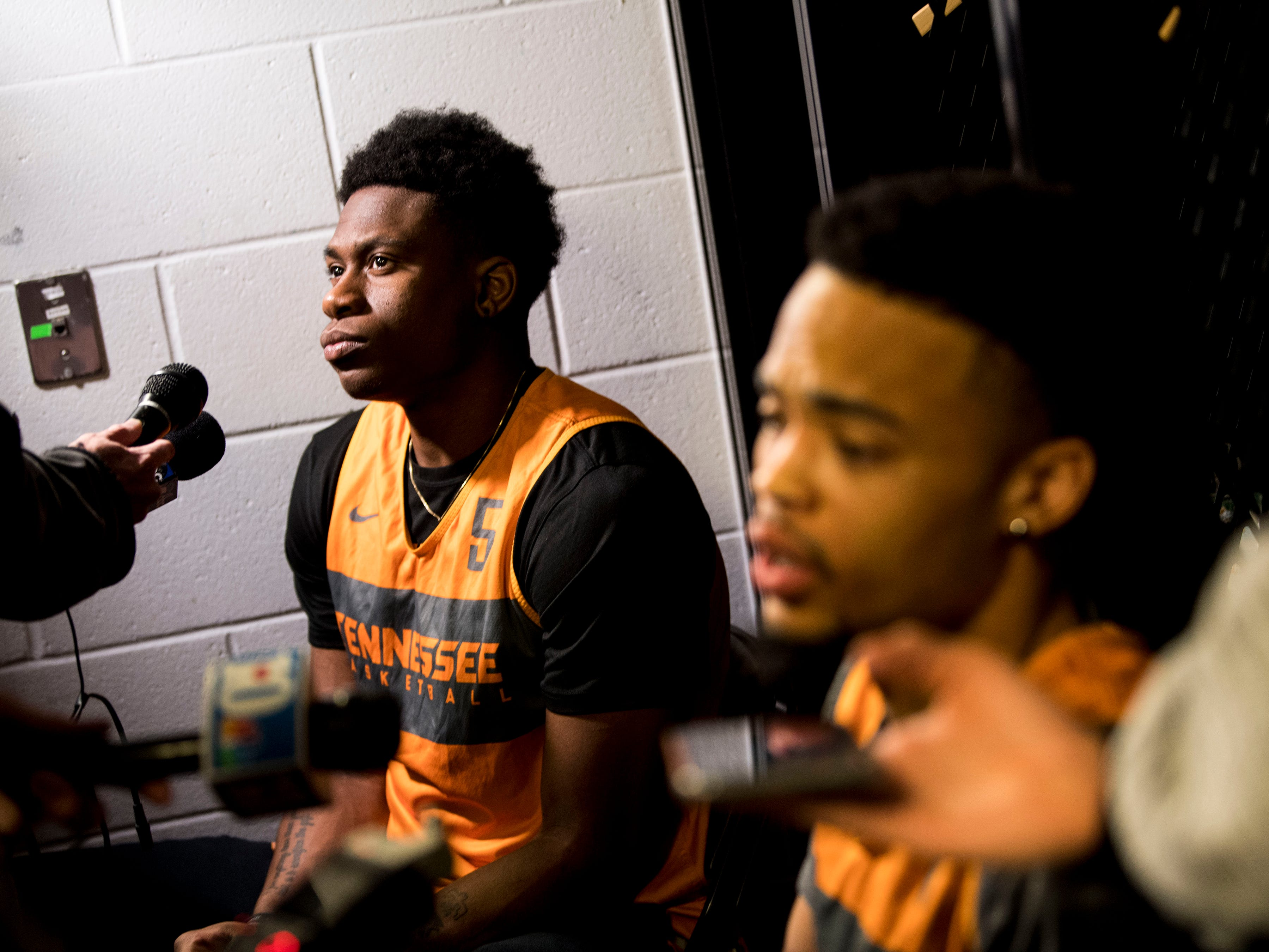 Tennessee guard Admiral Schofield (5), left, and Tennessee guard Lamonte Turner (1) speak with members of the media on Saturday, March 23, 2019, before the Tennessee Volunteers and Iowa Hawkeyes compete against one another in the second round of the NCAA Tournament held at Nationwide Arena in Columbus, Ohio, on Sunday, March 24, 2019.