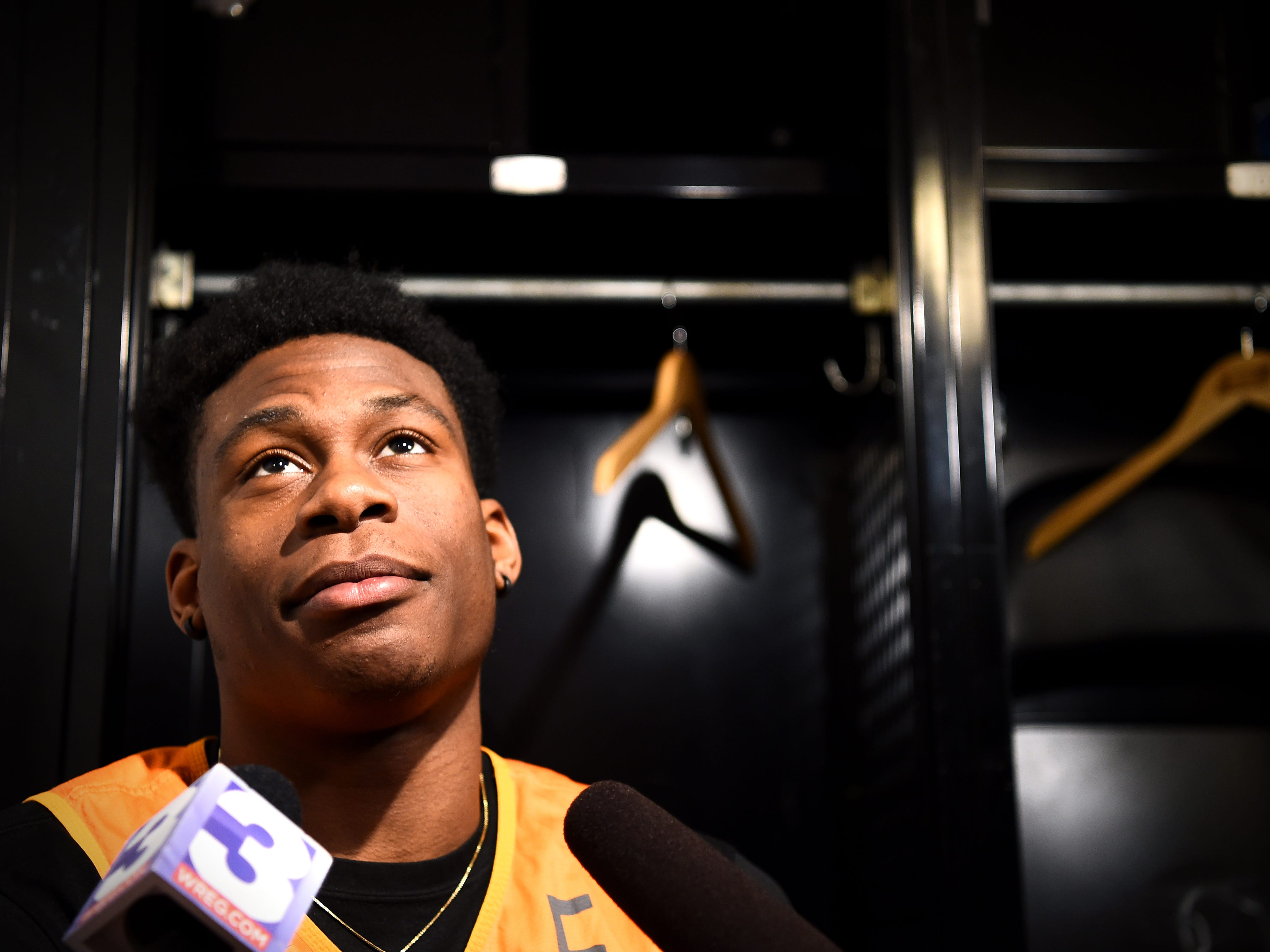 Tennessee guard Admiral Schofield (5) speaks with members of the media on Saturday, March 23, 2019, before the Tennessee Volunteers and Iowa Hawkeyes compete against one another in the second round of the NCAA Tournament held at Nationwide Arena in Columbus, Ohio, on Sunday, March 24, 2019.