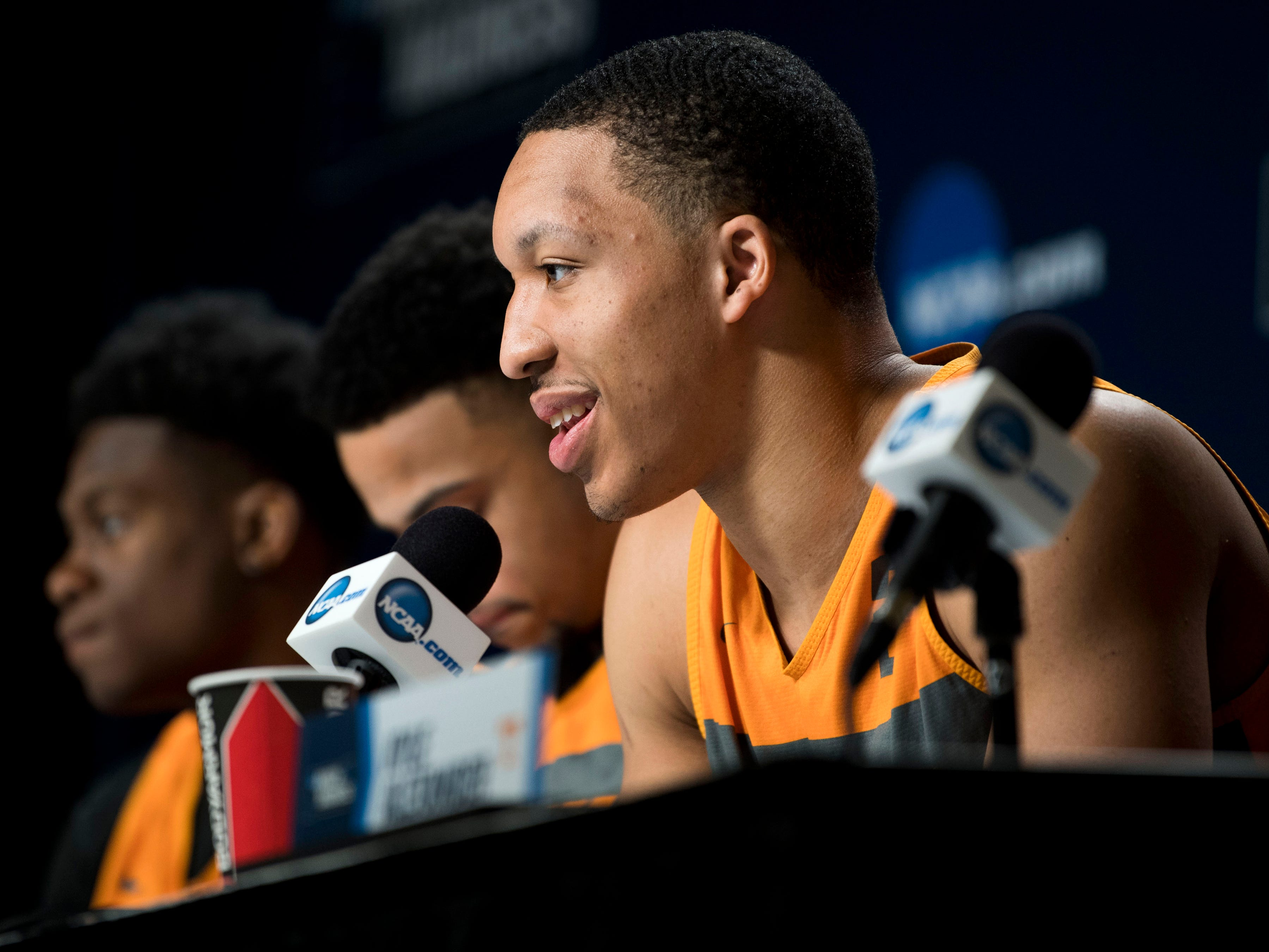 Tennessee forward Grant Williams (2) speaks at a press conference on Saturday, March 23, 2019, before the Tennessee Volunteers and Iowa Hawkeyes compete against one another in the second round of the NCAA Tournament held at Nationwide Arena in Columbus, Ohio on Sunday, March 24, 2019.