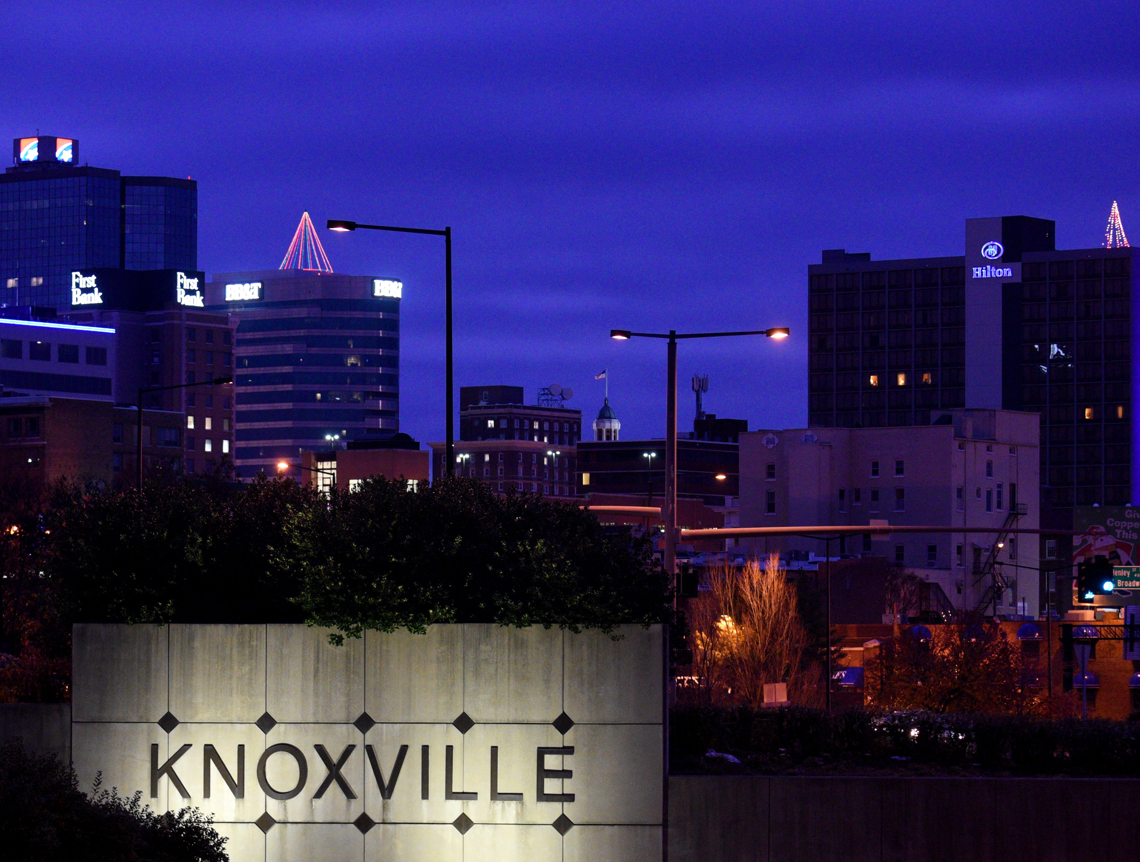 Cover for the Book of List 2015. Looking south along Henley Street as you enter Downtown Knoxville.