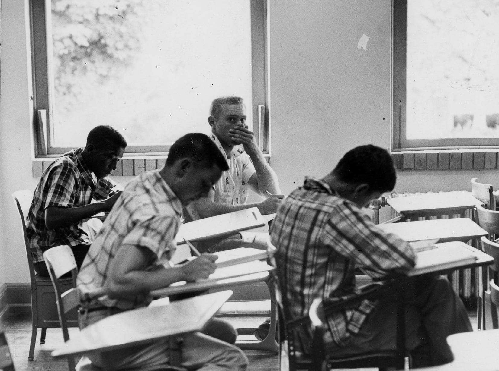 Black students returned to classes at Clinton High school yesterday, Sept. 4, and there was no trouble whatsoever, except for a few jeers. Dated: Sept. 5, 1956.
