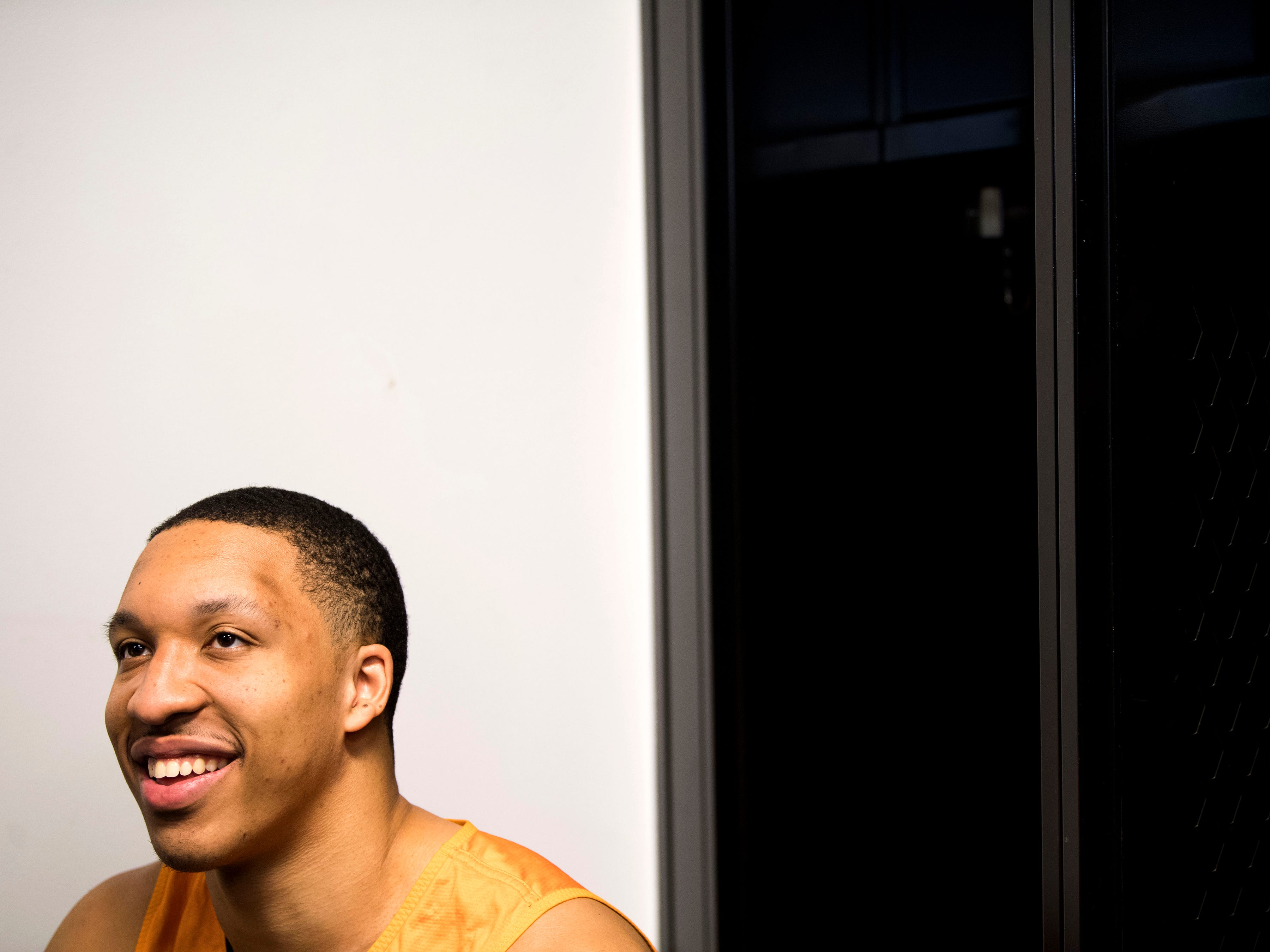 Tennessee forward Grant Williams (2) speaks with members of the media on Saturday, March 23, 2019, before the Tennessee Volunteers and Iowa Hawkeyes compete against one another in the second round of the NCAA Tournament held at Nationwide Arena in Columbus, Ohio on Sunday, March 24, 2019.