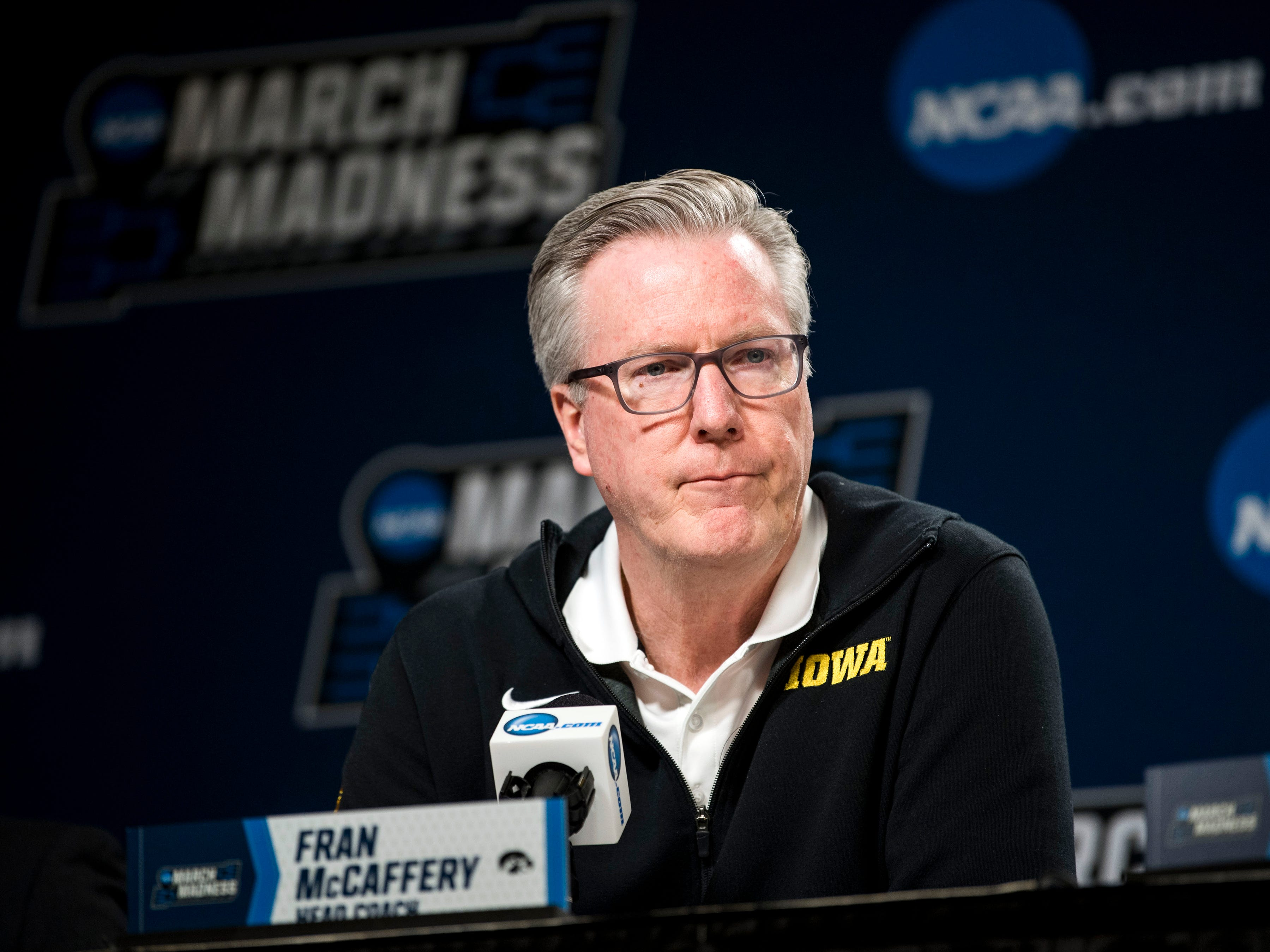 Iowa head coach Fran McCaffery speaks at a press conference on Saturday, March 23, 2019, before the Tennessee Volunteers and Iowa Hawkeyes compete against one another in the second round of the NCAA Tournament held at Nationwide Arena in Columbus, Ohio on Sunday, March 24, 2019.