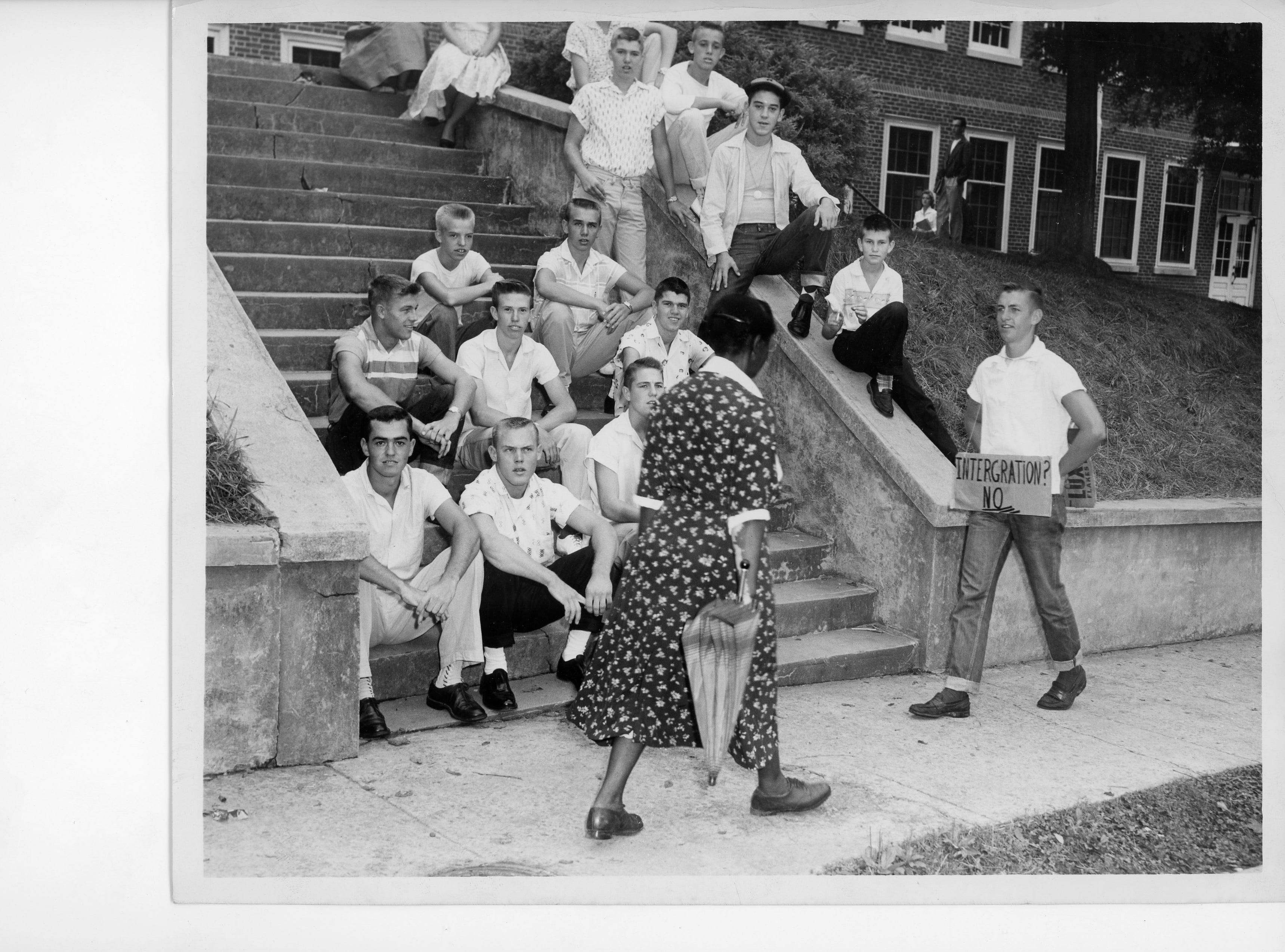 Outside Clinton High School during desegregation unrest. 9/01/1956. Photo from Knoxville News Sentinel archive.