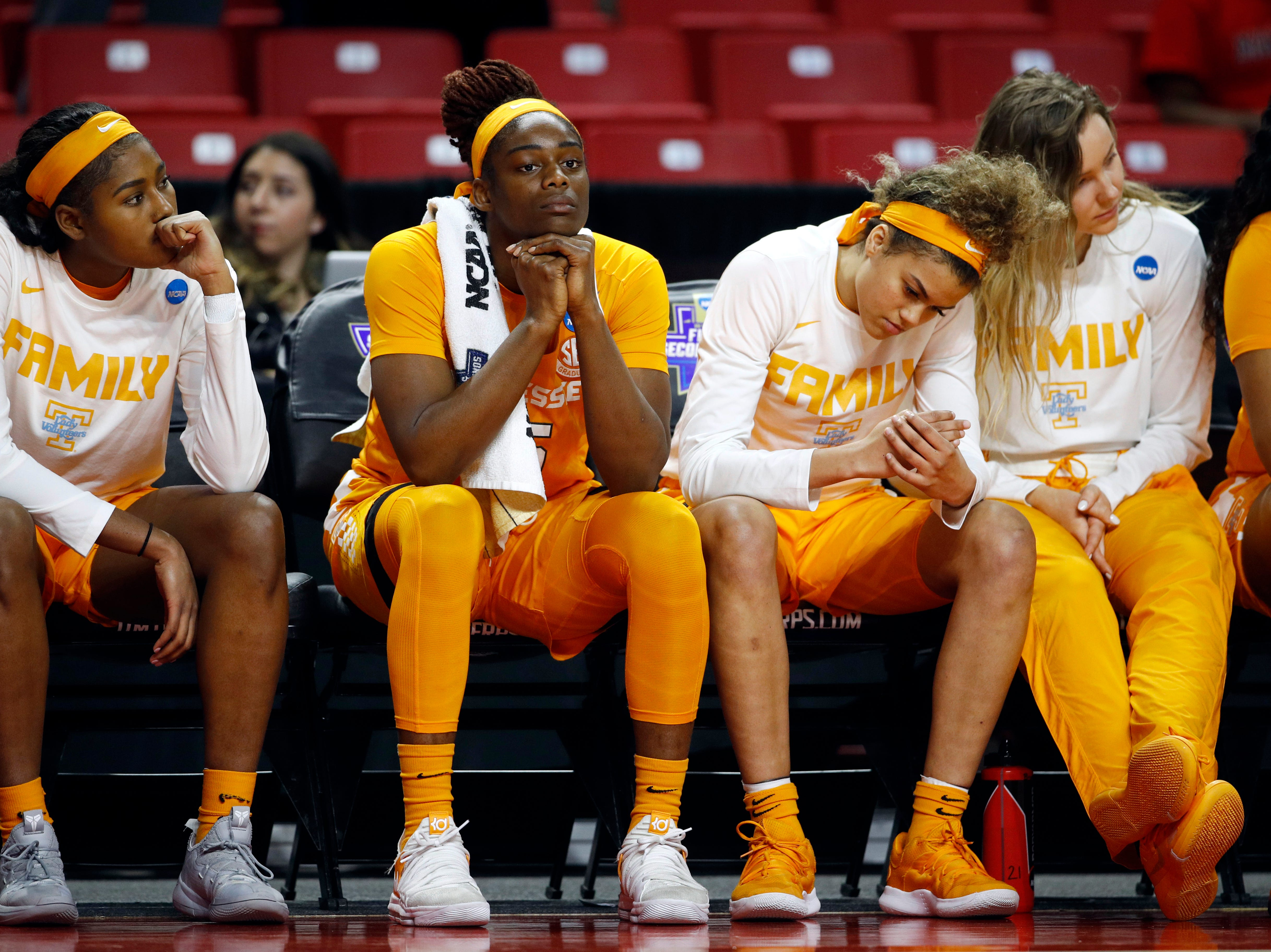 Tennessee players sit on the bench in the final moments of a first-round game against UCLA in the NCAA women's college basketball tournament, Saturday, March 23, 2019, in College Park, Md. UCLA won 89-77.
