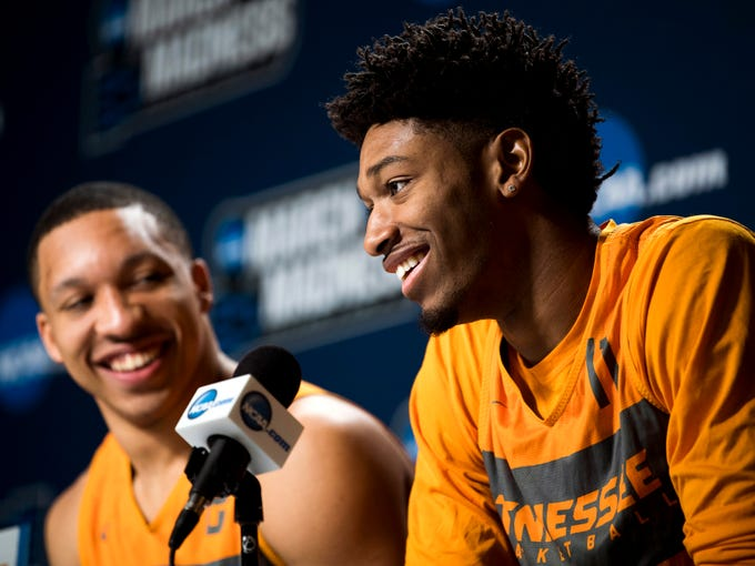 Tennessee forward Kyle Alexander (11) laughs as he speaks at a press conference on Saturday, March 23, 2019, before the Tennessee Volunteers and Iowa Hawkeyes compete against one another in the second round of the NCAA Tournament held at Nationwide Arena in Columbus, Ohio on Sunday, March 24, 2019.
