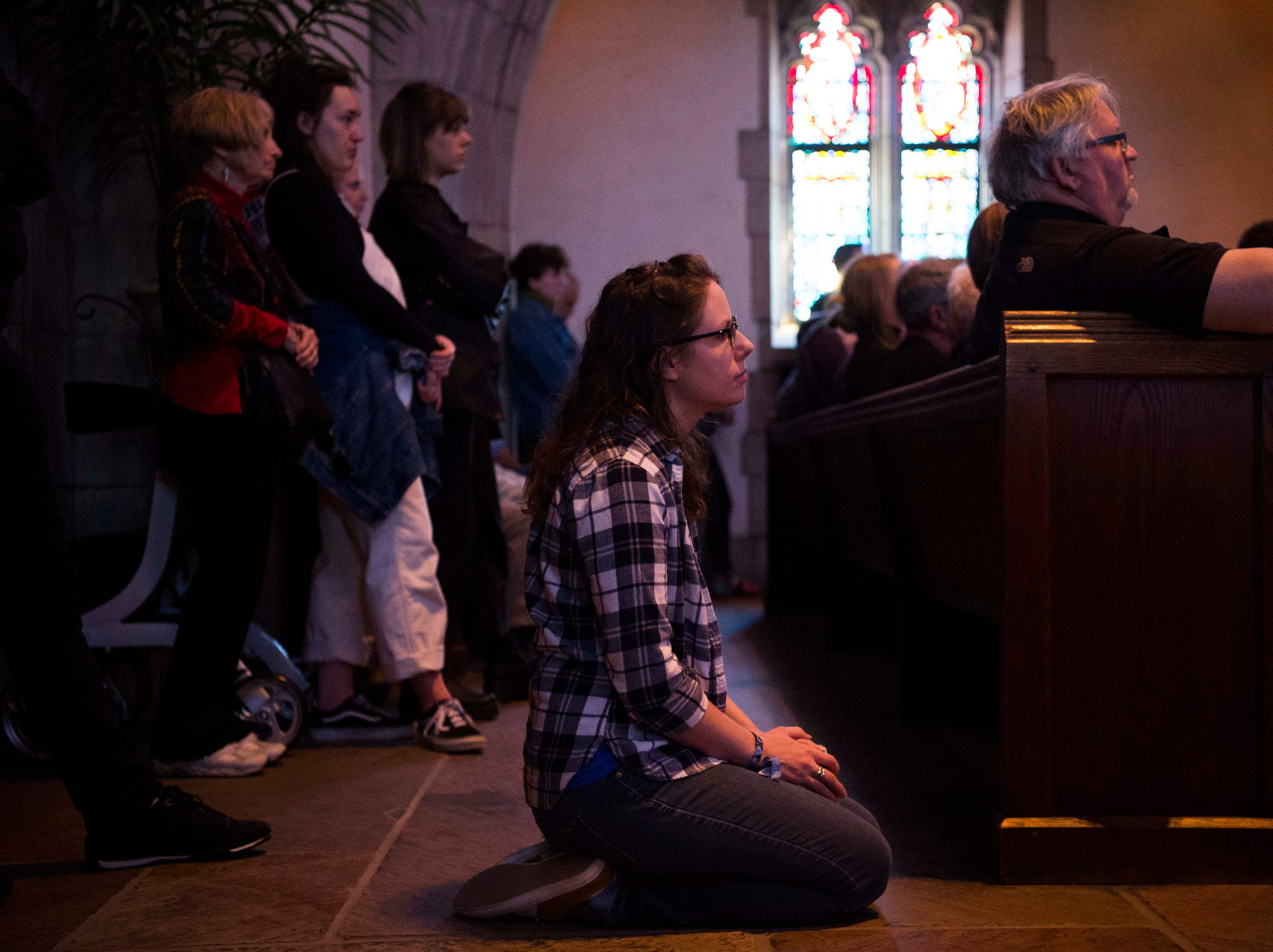 Big Ears attendees sit in Church Street United Methodist Church listening to Harold Budd with nief-norf with Mary Lattimore perform during Big Ears Music Festival in downtown Knoxville Friday, March 22, 2019.