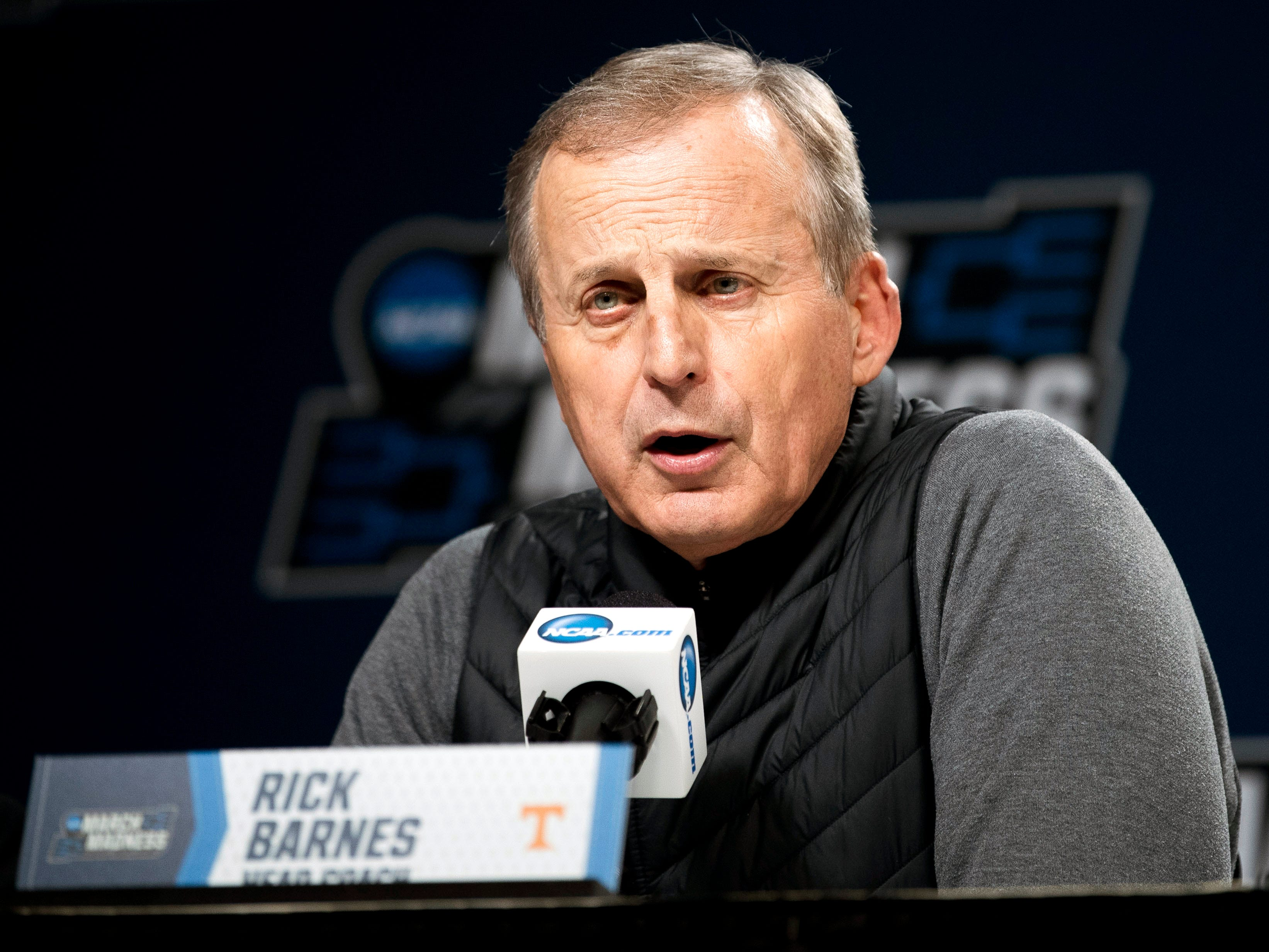Tennessee head coach Rick Barnes speaks at a press conference on Saturday, March 23, 2019, before the Tennessee Volunteers and Iowa Hawkeyes compete against one another in the second round of the NCAA Tournament held at Nationwide Arena in Columbus, Ohio on Sunday, March 24, 2019.