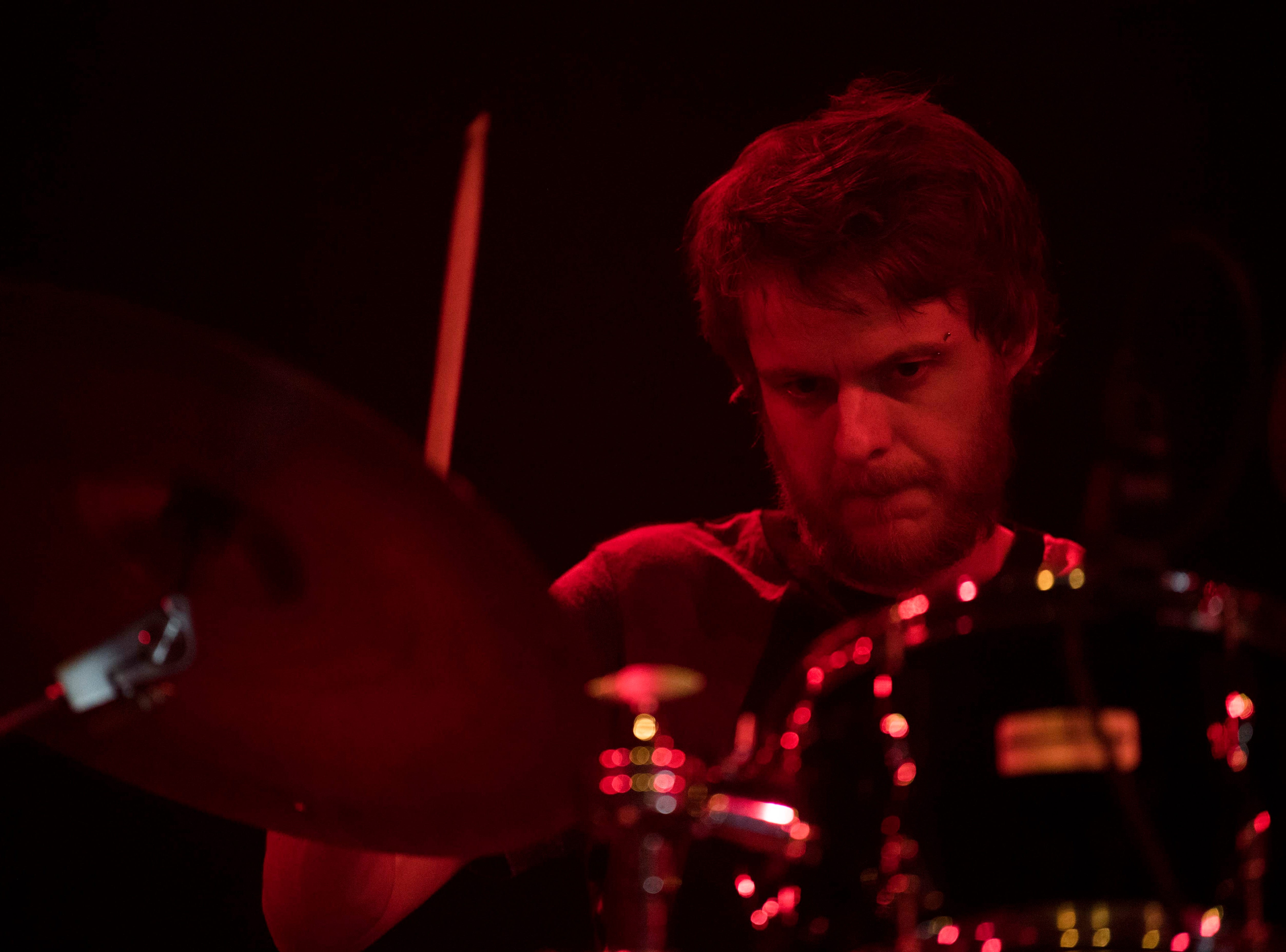 The Comet is Coming's drummer Max Hallett plays in The Mill & Mine during Big Ears Music Festival in downtown Knoxville Friday, March 22, 2019.