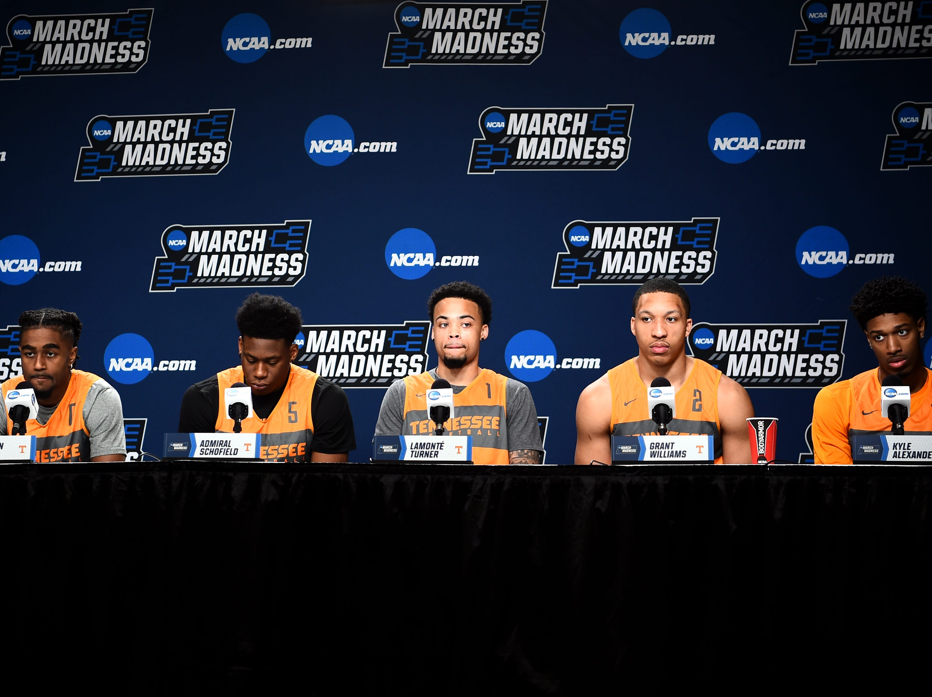 From left, Tennessee guard Jordan Bone (0), Tennessee guard Admiral Schofield (5), Tennessee guard Lamonte Turner (1), Tennessee forward Grant Williams (2) and Tennessee forward Kyle Alexander (11) speak at a press conference on Saturday, March 23, 2019, before the Tennessee Volunteers and Iowa Hawkeyes compete against one another in the second round of the NCAA Tournament held at Nationwide Arena in Columbus, Ohio  on Sunday, March 24, 2019.