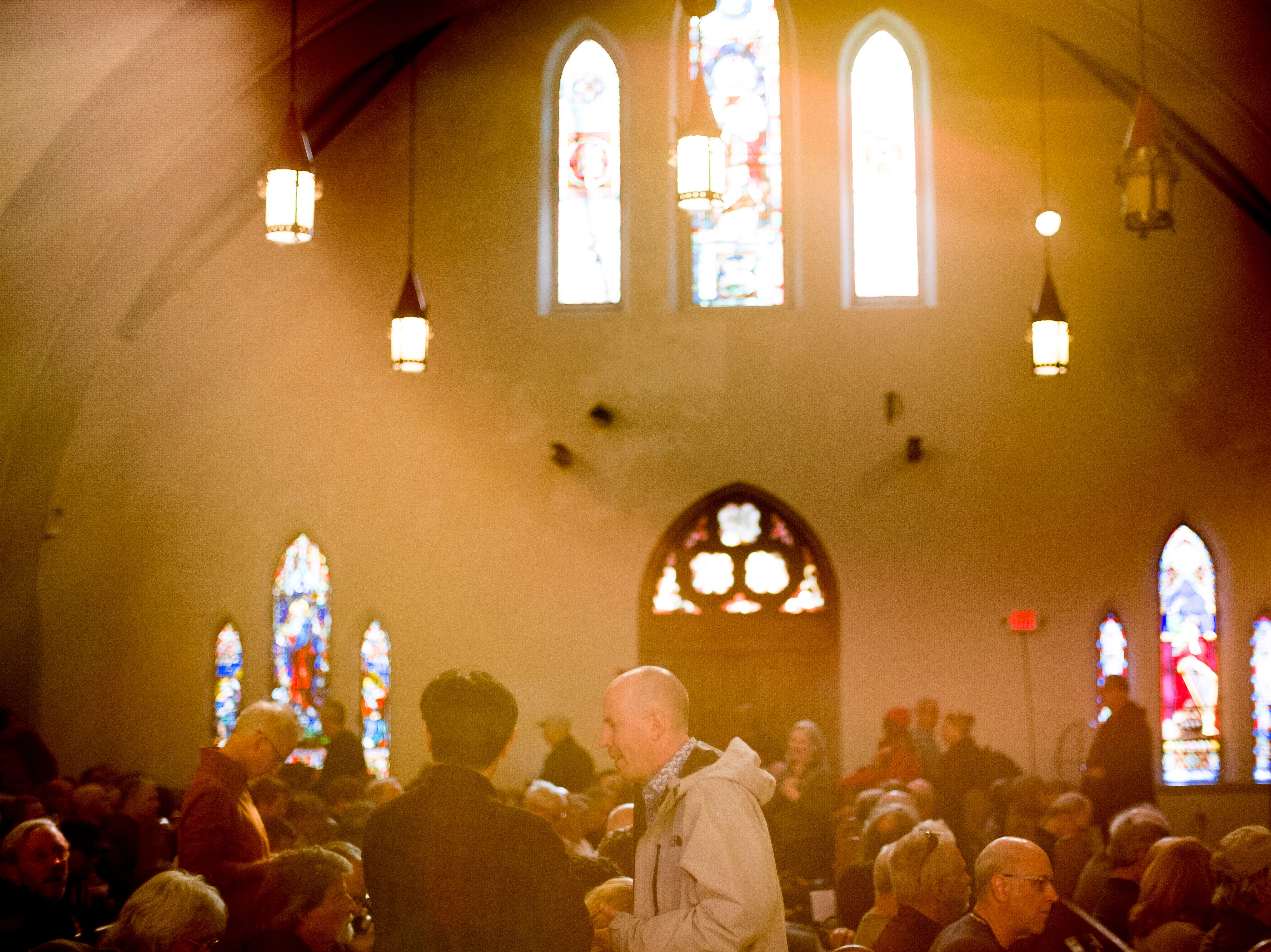 Fans gather to listen to Ralph Towner at St. John's Episcopal Church during Big Ears Festival 2019 in Knoxville, Tennessee on Friday, March 22, 2019.