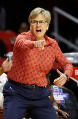 Tennessee head coach Holly Warlick reacts to an official's call in the second half of a first-round game against UCLA in the NCAA women's college basketball tournament, Saturday, March 23, 2019, in College Park, Md.