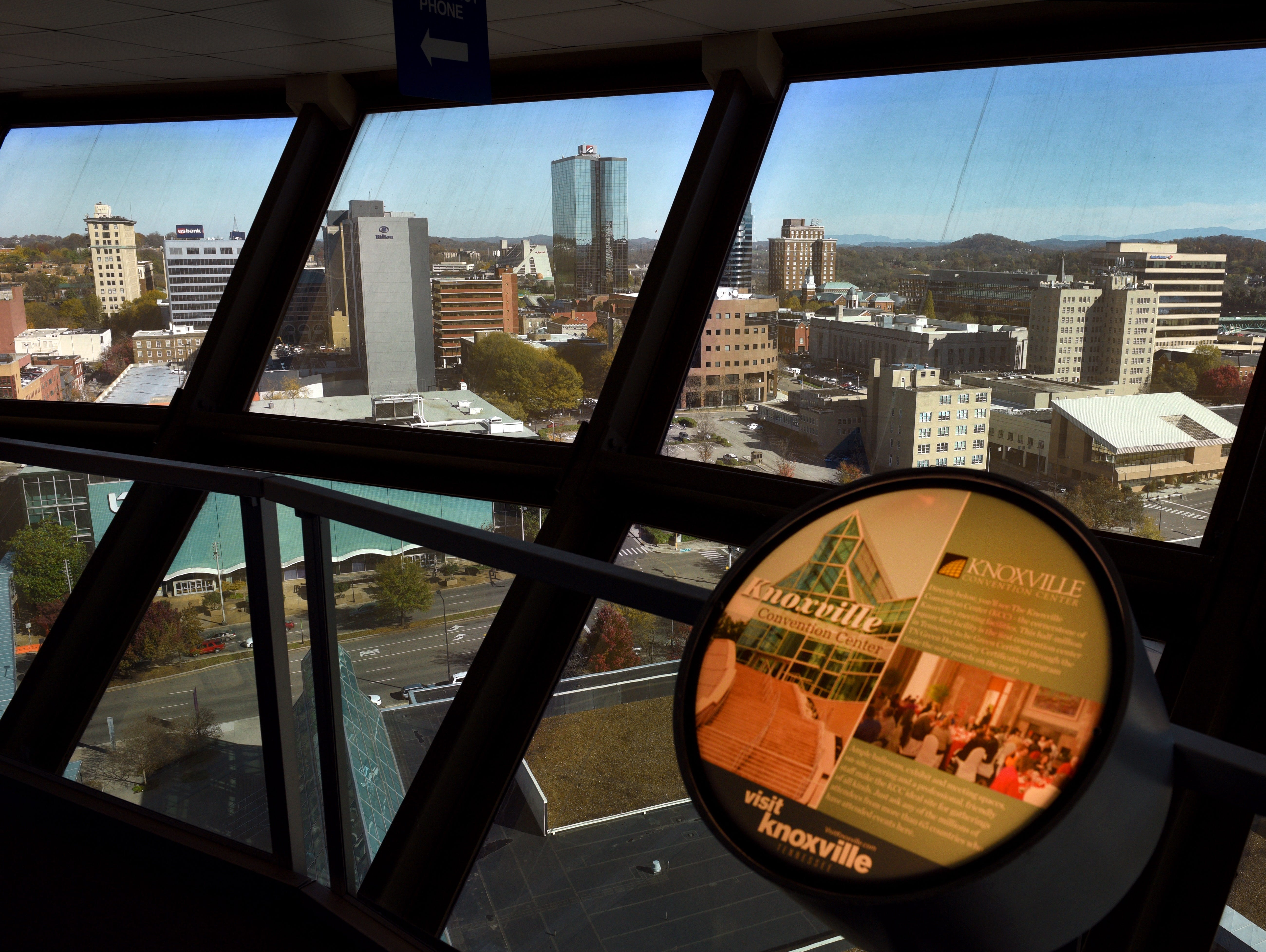 Downtown Knoxville as seen from inside the observation deck in the Sunsphere Thursday, Nov. 19, 2015.