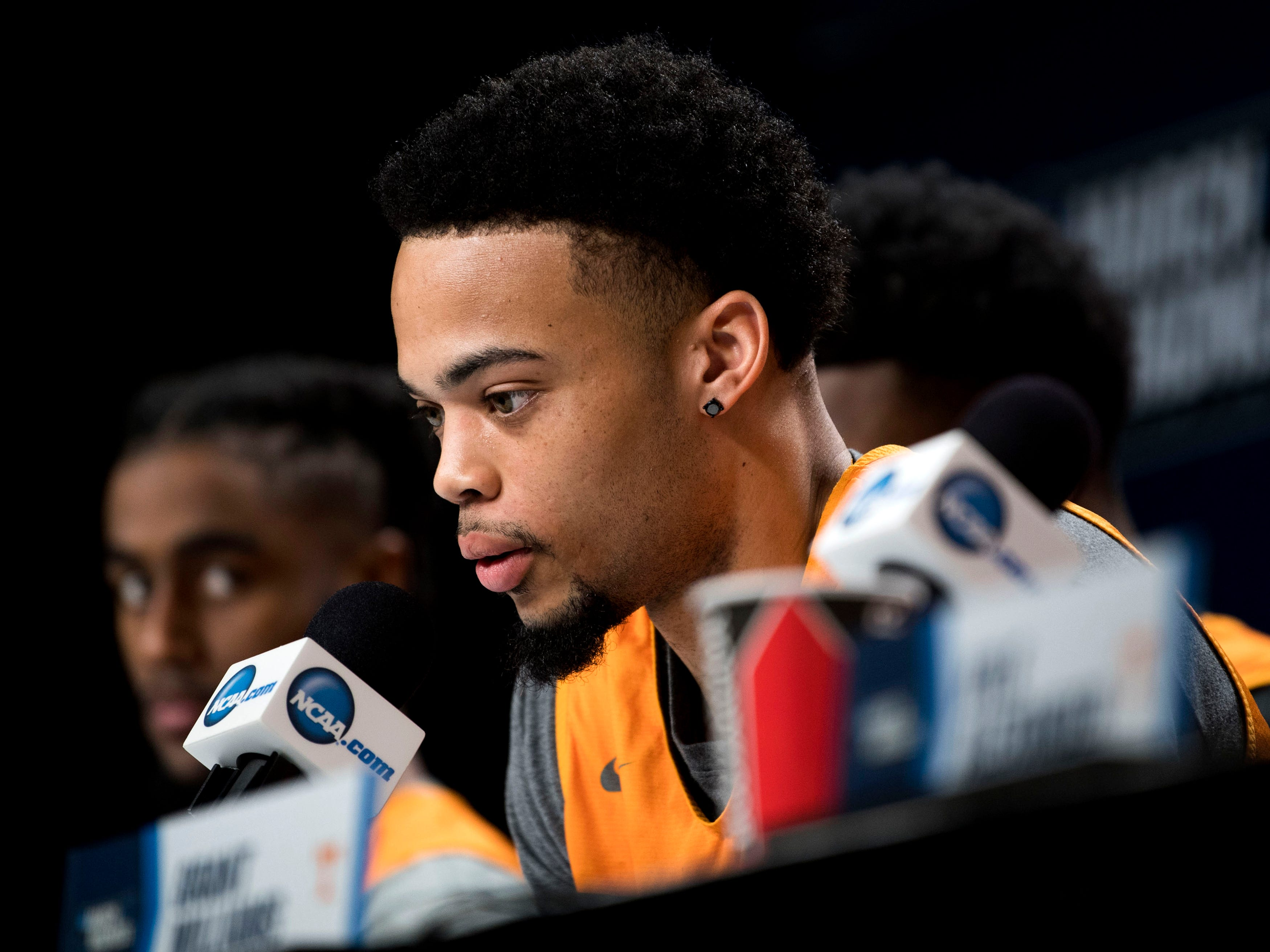Tennessee guard Lamonte Turner (1) speaks at a press conference on Saturday, March 23, 2019, before the Tennessee Volunteers and Iowa Hawkeyes compete against one another in the second round of the NCAA Tournament held at Nationwide Arena in Columbus, Ohio on Sunday, March 24, 2019.