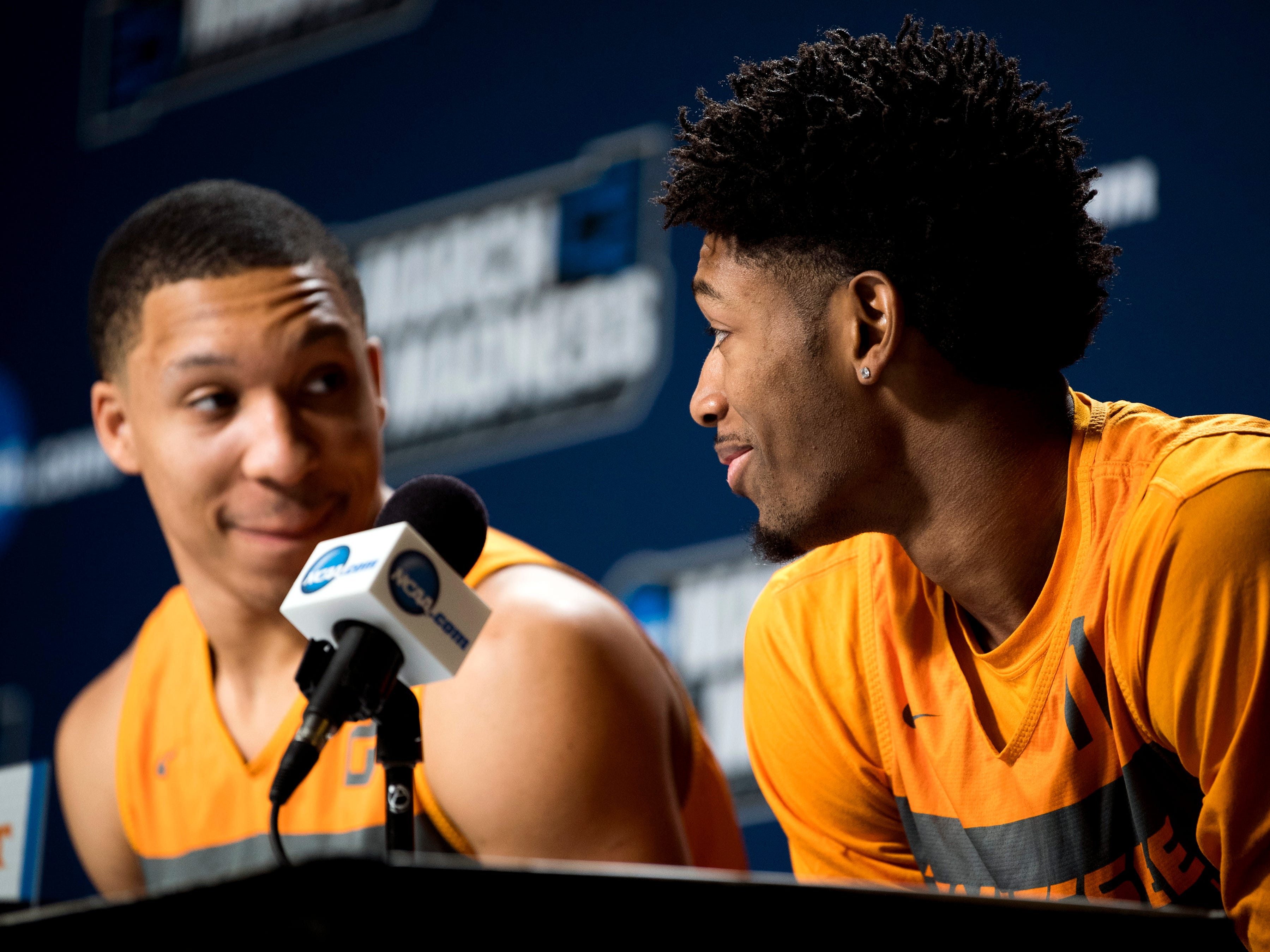 Tennessee forward Kyle Alexander (11) glances over at Tennessee forward Grant Williams (2) at a press conference on Saturday, March 23, 2019, before the Tennessee Volunteers and Iowa Hawkeyes compete against one another in the second round of the NCAA Tournament held at Nationwide Arena in Columbus, Ohio on Sunday, March 24, 2019.