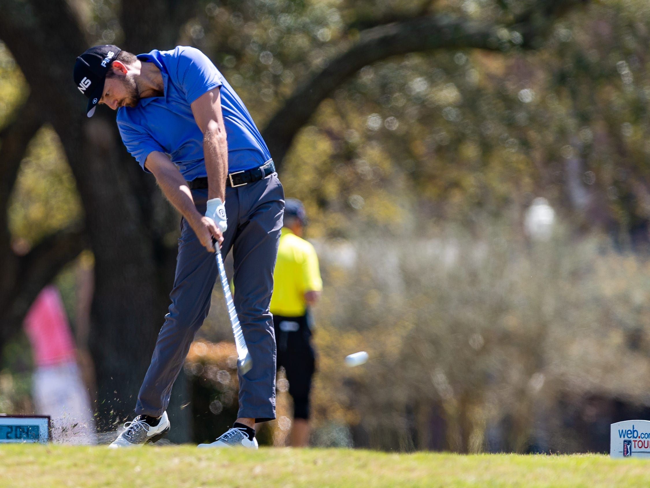 Zach Wright from Baton Rouge, LA on the tee as The Web.com Tour is in Lafayette for the 2019 Chitimacha Louisiana Open at Le Triomphe. Friday, March 22, 2019.