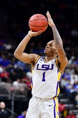 Mar 23, 2019; Jacksonville, FL, USA; LSU Tigers guard Javonte Smart (1) shoots against the Maryland Terrapins during the first half in the second round of the 2019 NCAA Tournament at Jacksonville Veterans Memorial Arena. Mandatory Credit: John David Mercer-USA TODAY Sports