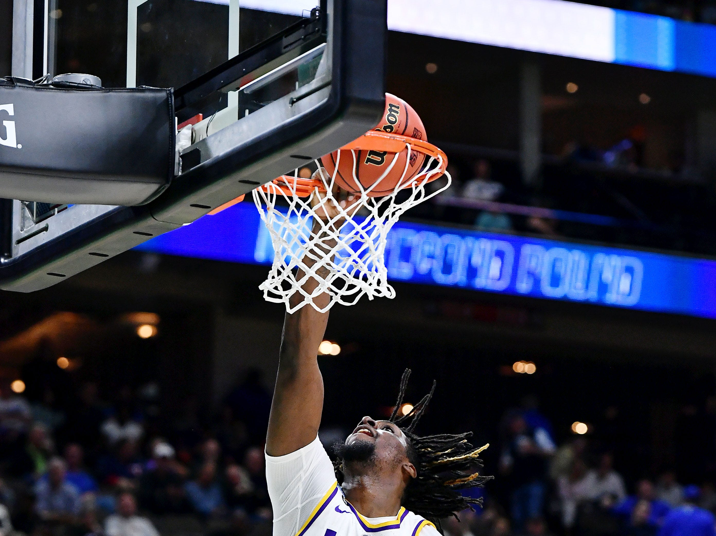 Mar 23, 2019; Jacksonville, FL, USA; LSU Tigers forward Naz Reid (0) makes a basket against the Maryland Terrapins during the first half in the second round of the 2019 NCAA Tournament at Jacksonville Veterans Memorial Arena. Mandatory Credit: John David Mercer-USA TODAY Sports