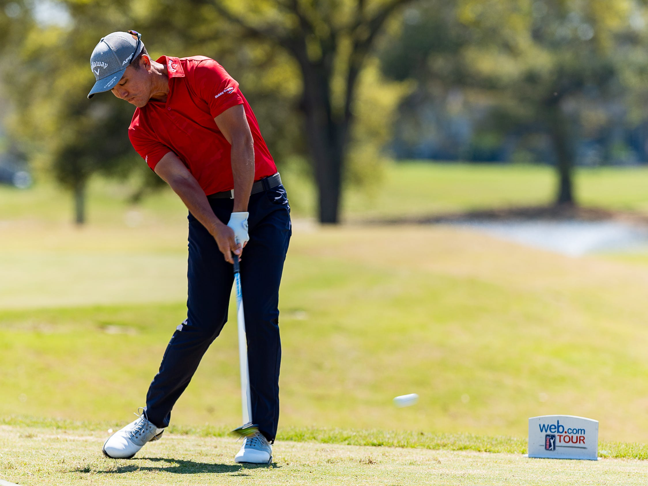 Byron Meth on the tee as The Web.com Tour is in Lafayette for the 2019 Chitimacha Louisiana Open at Le Triomphe. Friday, March 22, 2019.