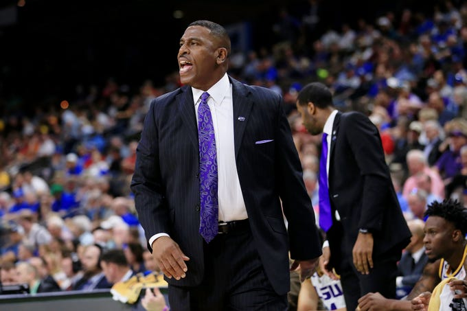 Mar 23, 2019; Jacksonville, FL, USA; LSU Tigers interim head coach Tony Benford instructs his team during the first half of their game against the Maryland Terrapins in the second round of the 2019 NCAA Tournament at Jacksonville Veterans Memorial Arena. Mandatory Credit: Matt Stamey-USA TODAY Sports