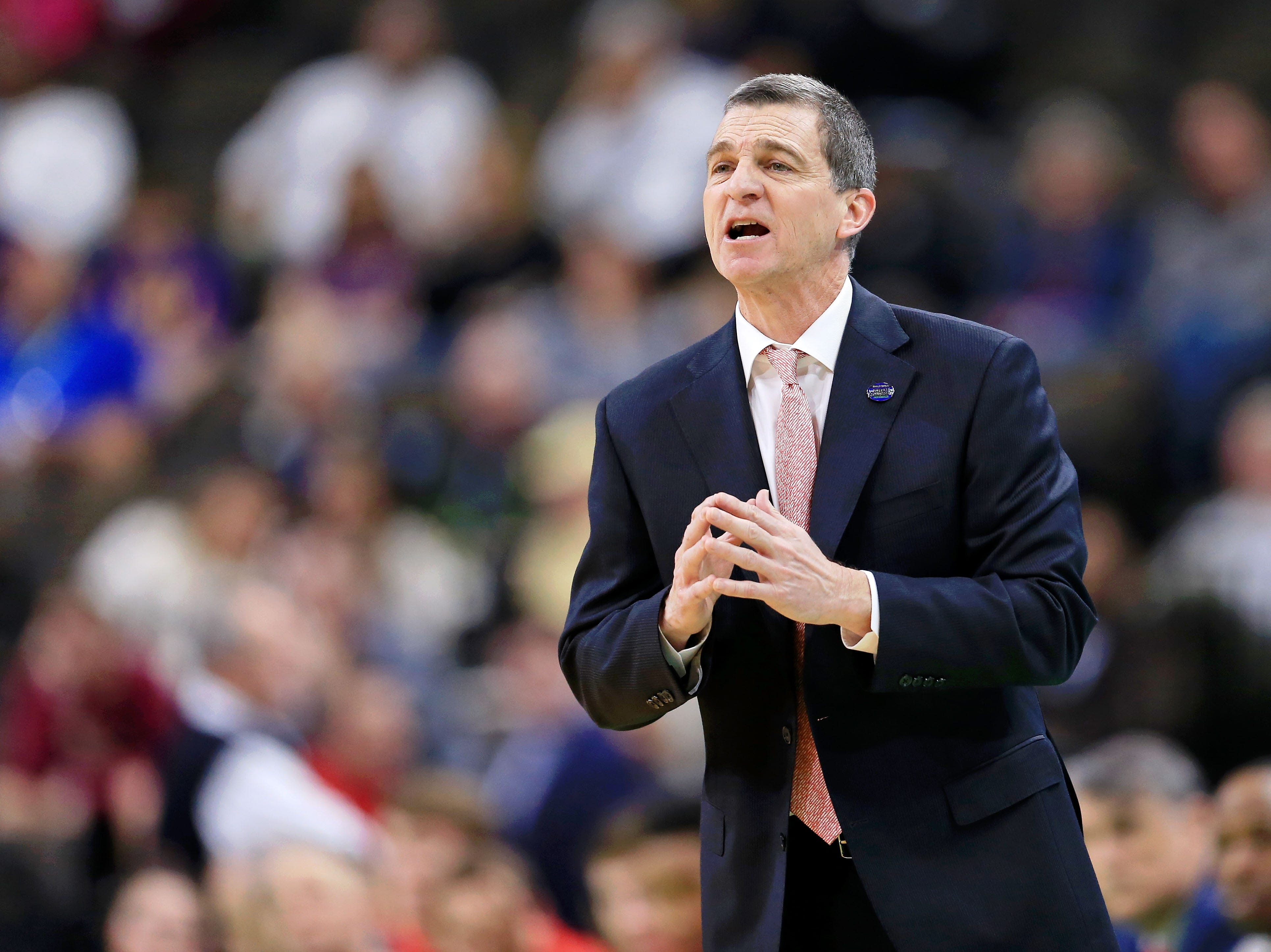 Mar 23, 2019; Jacksonville, FL, USA; Maryland Terrapins head coach Mark Turgeon instructs his team during the first half of their game against the LSU Tigers in the second round of the 2019 NCAA Tournament at Jacksonville Veterans Memorial Arena. Mandatory Credit: Matt Stamey-USA TODAY Sports