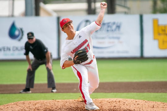 UL sophomore starter Austin Perrin pitches in a win over Appalachian State last weekend.