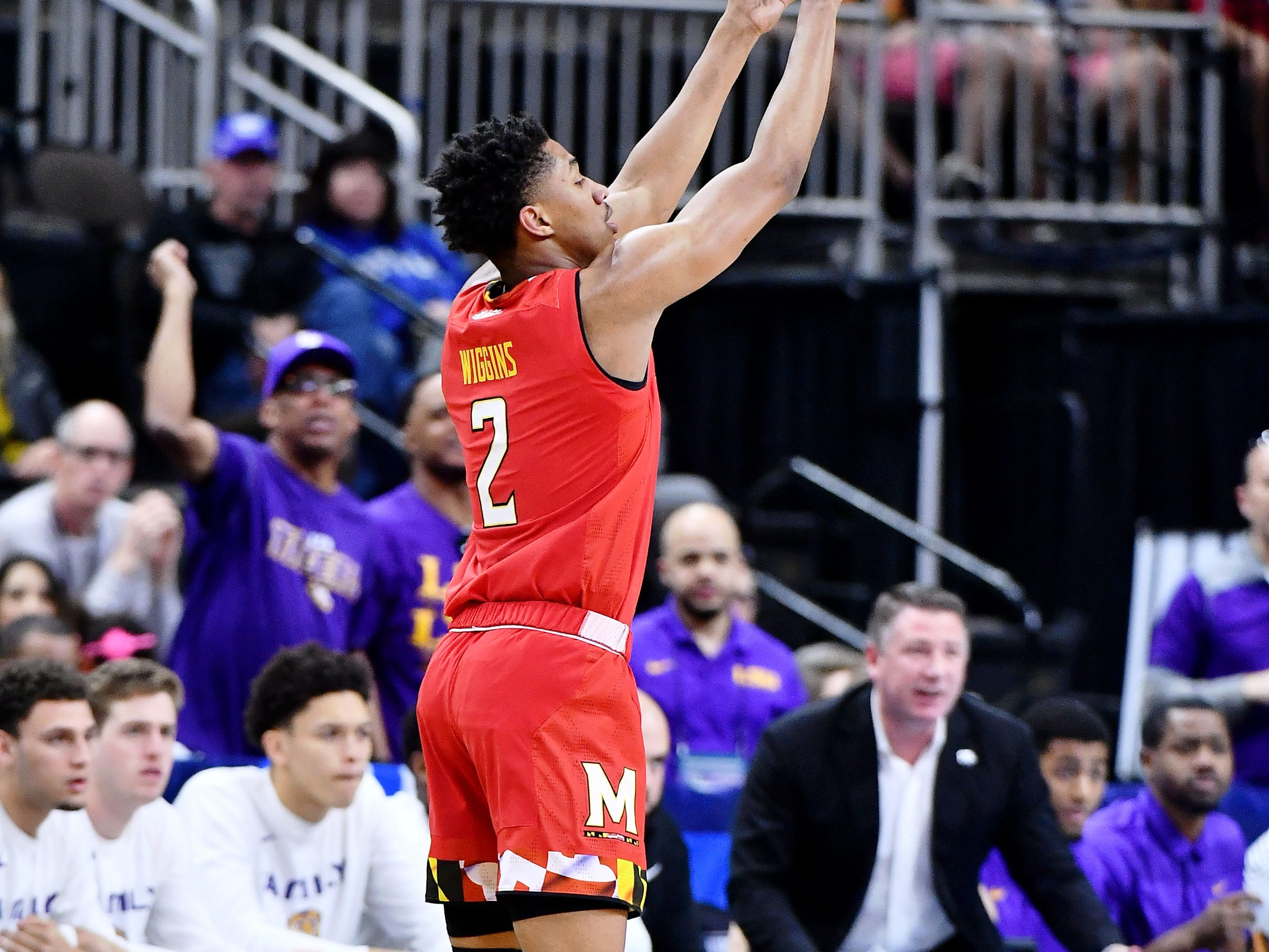 Mar 23, 2019; Jacksonville, FL, USA; Maryland Terrapins guard Aaron Wiggins (2) shoots against the LSU Tigers during the first half in the second round of the 2019 NCAA Tournament at Jacksonville Veterans Memorial Arena. Mandatory Credit: John David Mercer-USA TODAY Sports