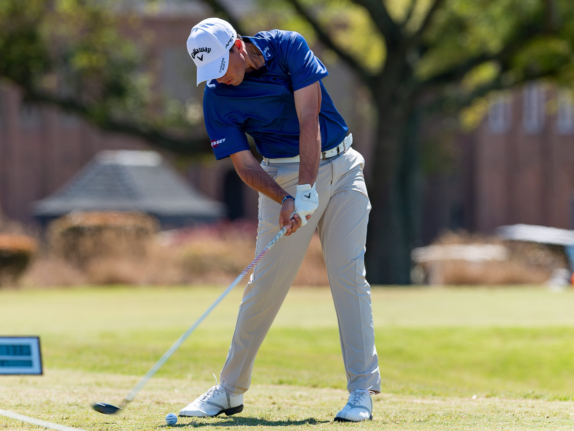 Andres Gallegos on the tee as the The Web.com Tour is in Lafayette for the 2019 Chitimacha Louisiana Open at Le Triomphe. Friday, March 22, 2019.