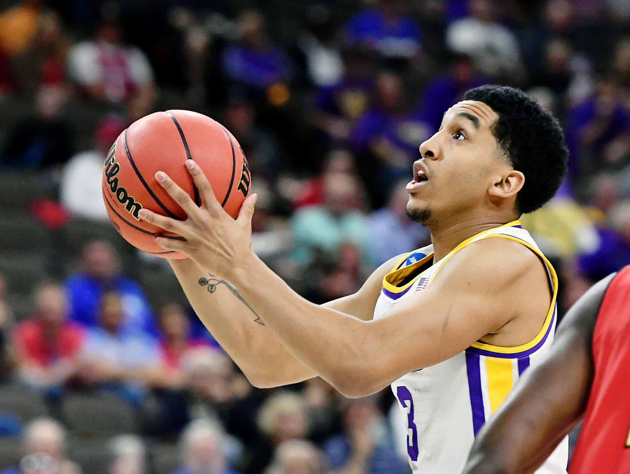 Mar 23, 2019; Jacksonville, FL, USA; LSU Tigers guard Tremont Waters (3) shoots against the Maryland Terrapins during the first half in the second round of the 2019 NCAA Tournament at Jacksonville Veterans Memorial Arena. Mandatory Credit: John David Mercer-USA TODAY Sports
