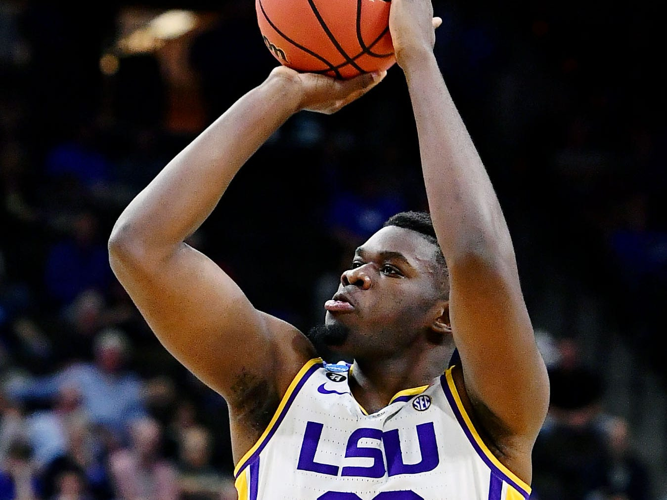 Mar 23, 2019; Jacksonville, FL, USA; LSU Tigers forward Darius Days (22) shoots against the Maryland Terrapins during the first half in the second round of the 2019 NCAA Tournament at Jacksonville Veterans Memorial Arena. Mandatory Credit: John David Mercer-USA TODAY Sports
