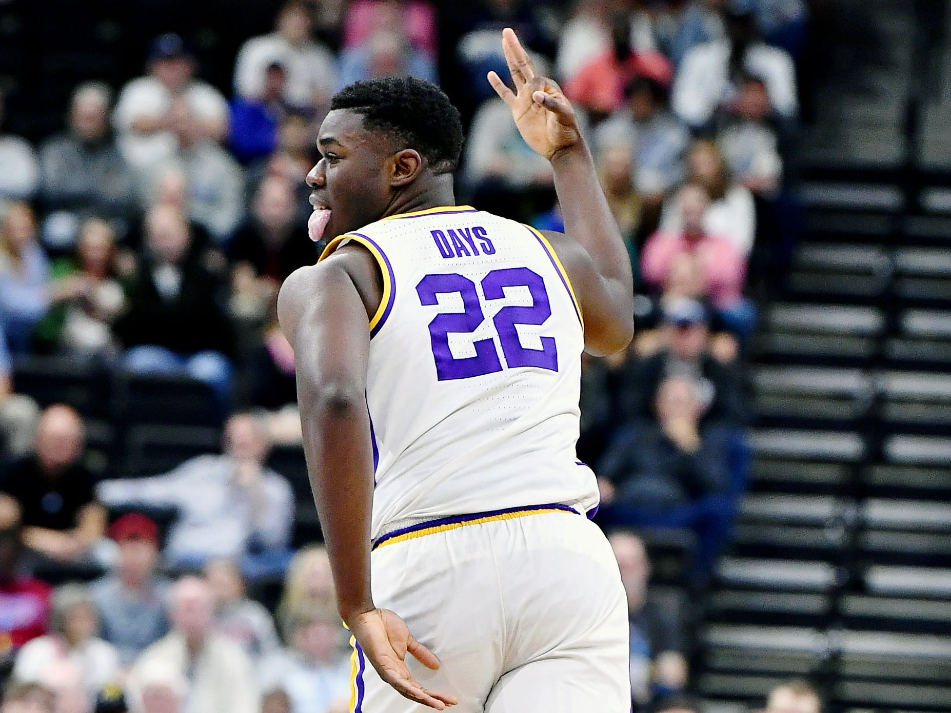 Mar 23, 2019; Jacksonville, FL, USA; LSU Tigers forward Darius Days (22) reacts after making a basket against the Maryland Terrapins during the first half in the second round of the 2019 NCAA Tournament at Jacksonville Veterans Memorial Arena. Mandatory Credit: John David Mercer-USA TODAY Sports