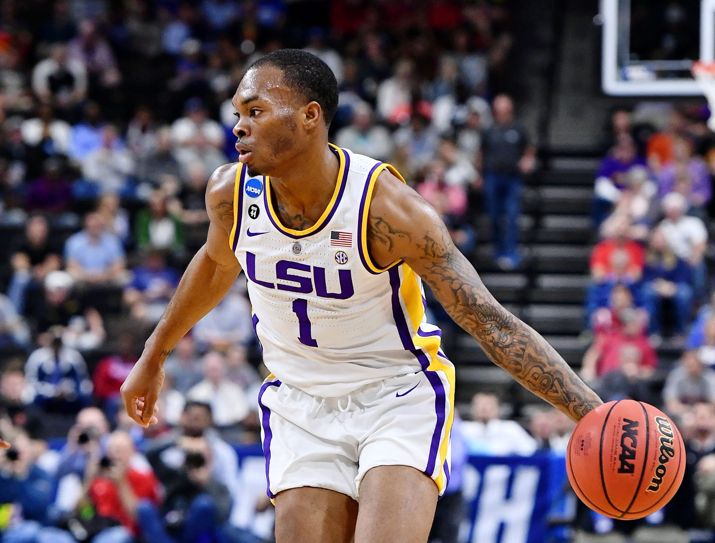 Mar 23, 2019; Jacksonville, FL, USA; LSU Tigers guard Javonte Smart (1) dribbles the ball against the Maryland Terrapins during the first half in the second round of the 2019 NCAA Tournament at Jacksonville Veterans Memorial Arena. Mandatory Credit: John David Mercer-USA TODAY Sports