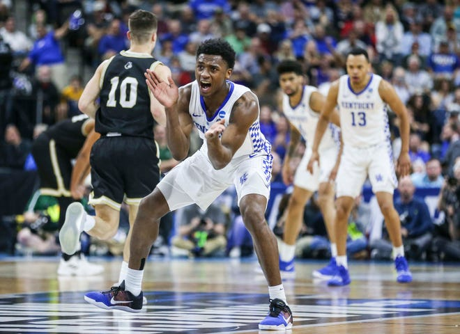 Kentucky's Ashton Hagans was pumped as he put the Wildcats out in front late in the first half against Wofford in the second round game of the 2019 NCAA tournament in Jacksonville, Fla. March 23, 2019