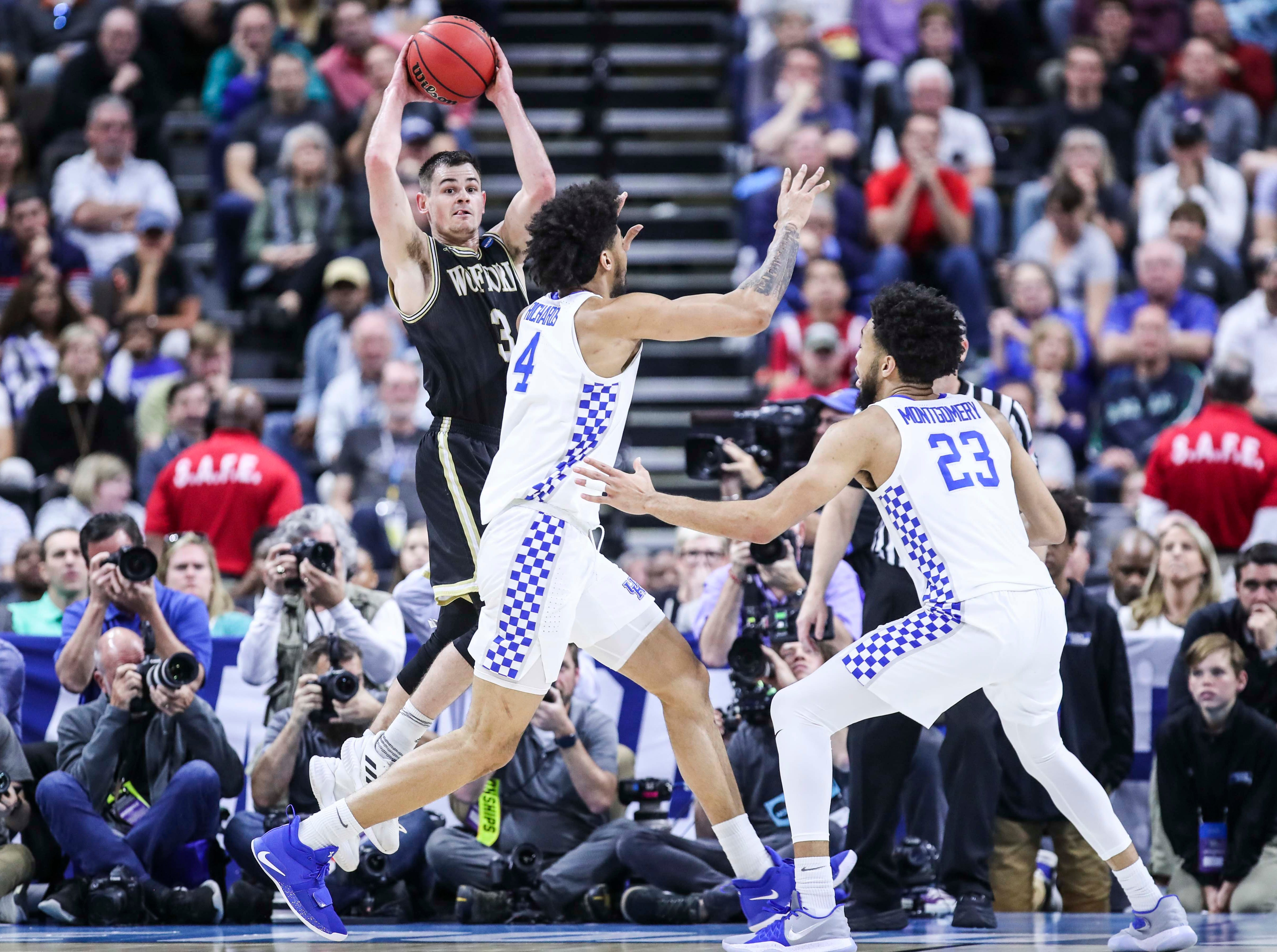 Wofford's Fletcher Magee -- who became the NCAA's all-time leading three-point scorer this season --  went 0-for-12 in three point shooting as the Wildcats muscled its way past a tenacious Wofford 62-56 in the second round game of the 2019 NCAA tournament in Jacksonville, Fla. March 23, 2019