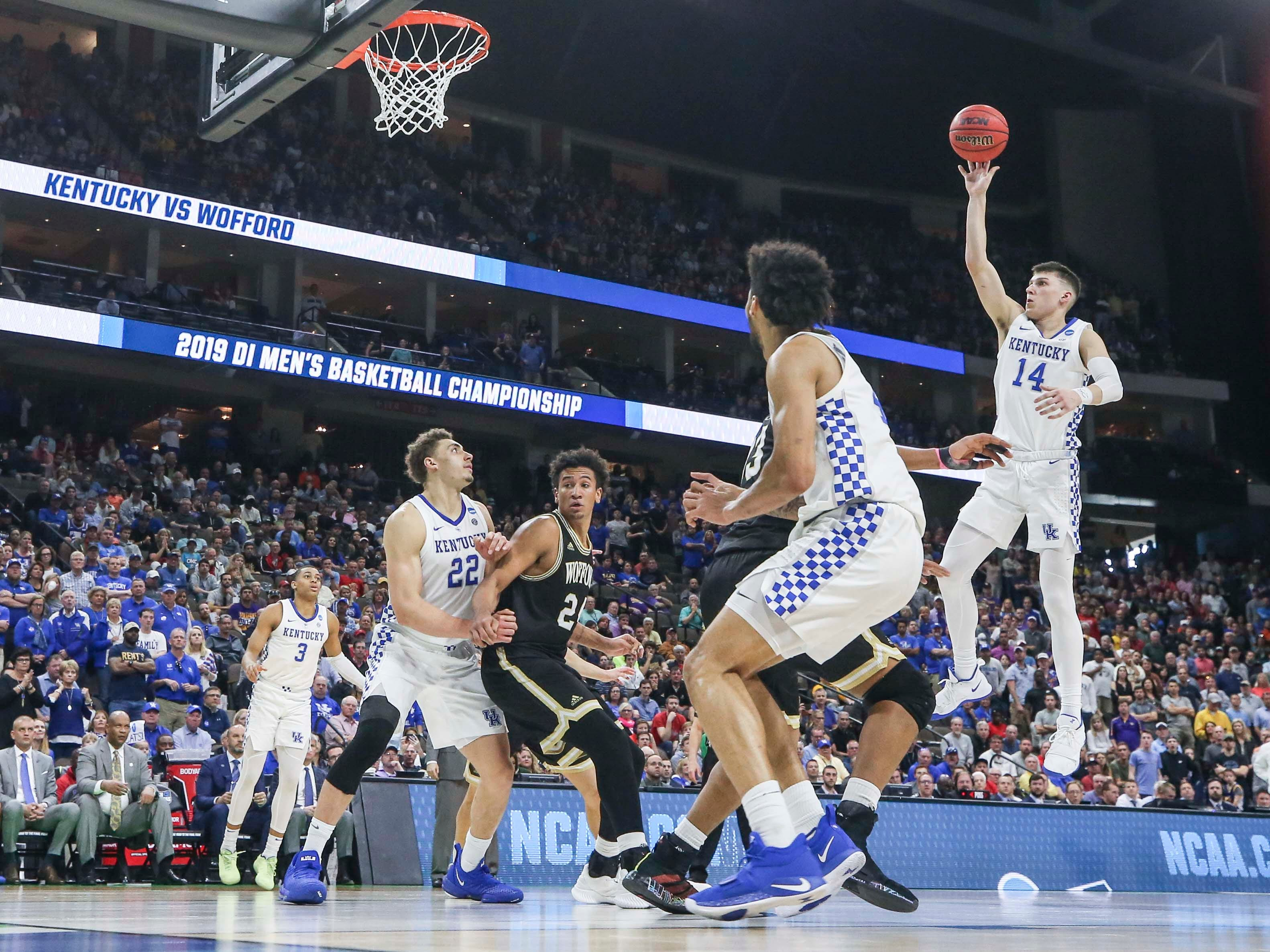 Kentucky's Tyler Herro had nine points and six rebounds with four assists as the Wildcats beat a tenacious Wofford 62-56 in the second round game of the 2019 NCAA tournament in Jacksonville, Fla. March 23, 2019