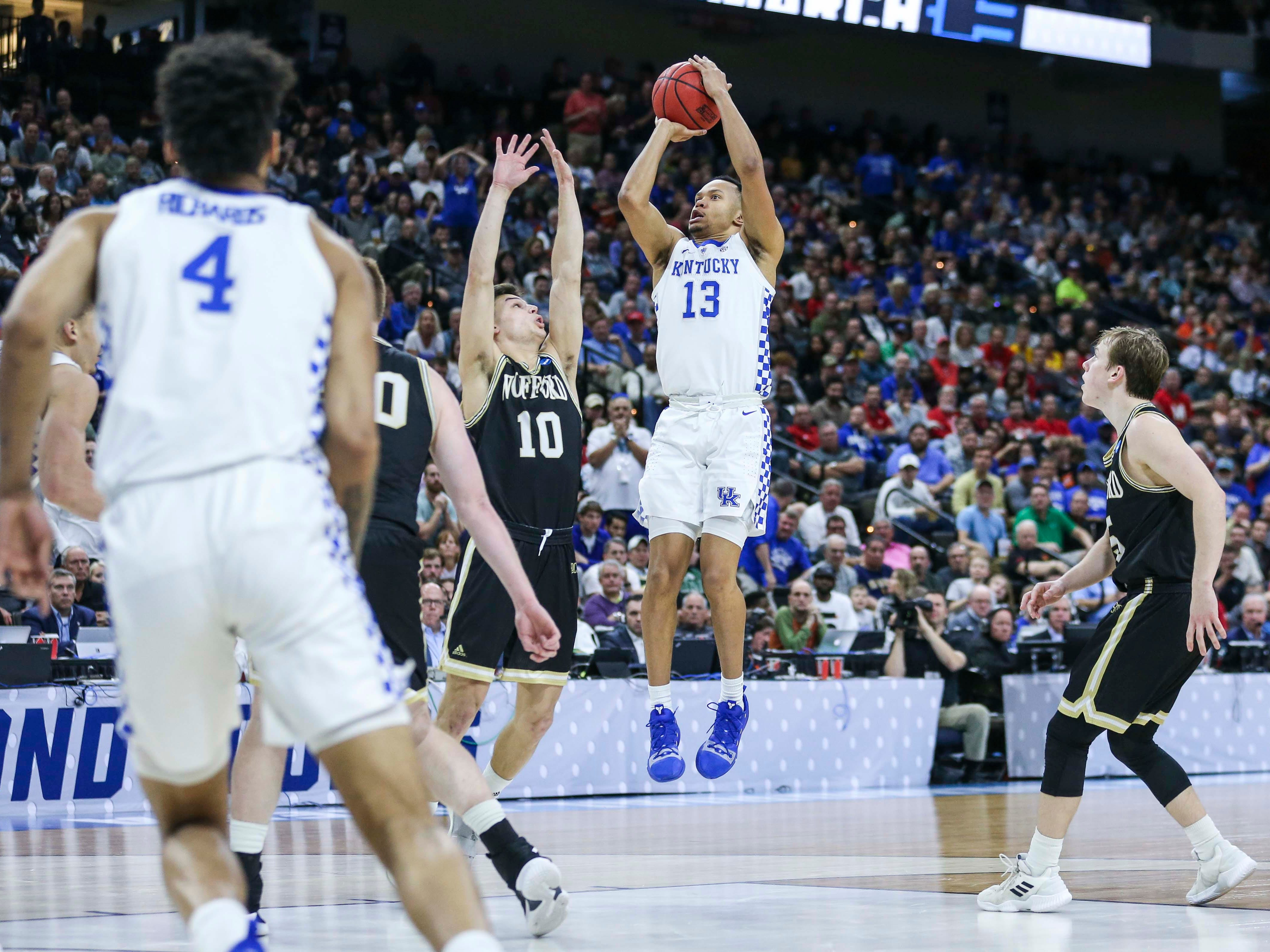 Kentucky's Jamarl Baker had eight points with two rebounds as the Wildcats beat a tenacious Wofford 62-56 in the second round game of the 2019 NCAA tournament in Jacksonville, Fla. March 23, 2019