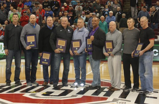 Members of Lexington's 1989 state championship team, honored Saturday in Columbus: left to right, Tom Scholl, Jeff Hoeppner, Jason Dials, Chris Smith, Chad Swartzmiller, Chris Hahn and coaches Gregg Collins, Tom Foster and Dave Willeke