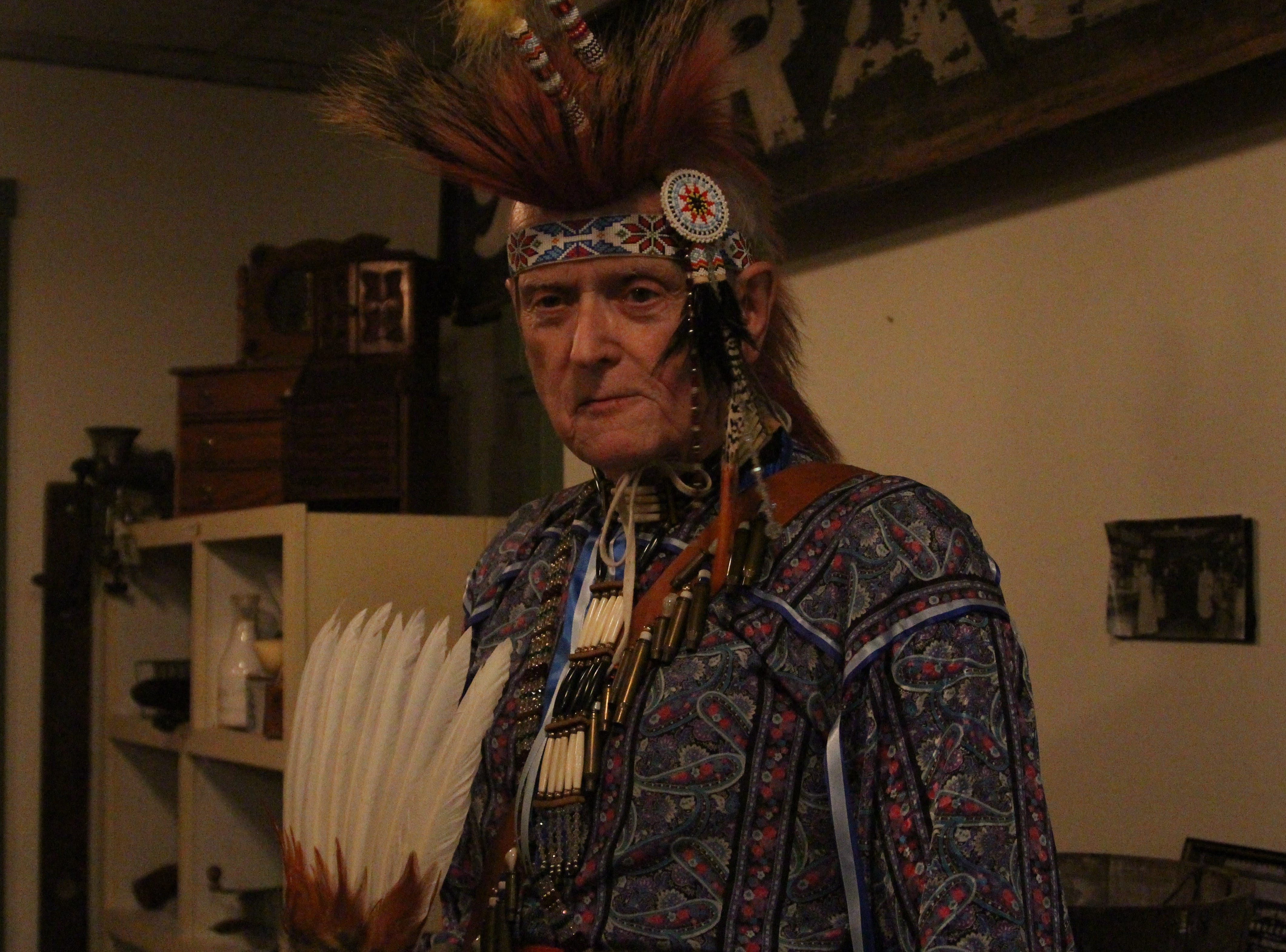 Willis Thomas portrayed Lenape tribesman Willing Turtle at Heritage Hall Friday evening. The Marion County Historical Society was busy Friday and Saturday night as some 46 volunteers portrayed local, state and national historical figures.