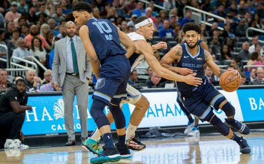 Memphis Grizzlies guard Tyler Dorsey (22) dribbles by Orlando Magic forward Aaron Gordon, center, as Memphis Grizzlies forward Ivan Rabb (10) sets a pick on Gordon during the first half of an NBA basketball game in Orlando, Fla., Friday, March 22, 2019. (AP Photo/Willie J. Allen Jr.)