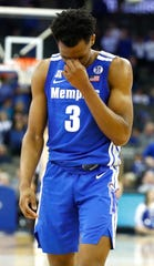 Memphis Tigers guard Jeremiah Martin (3) reacts late in the second half against Creighton in their second round NIT game Friday, March 22, 2019, in Omaha, Neb.