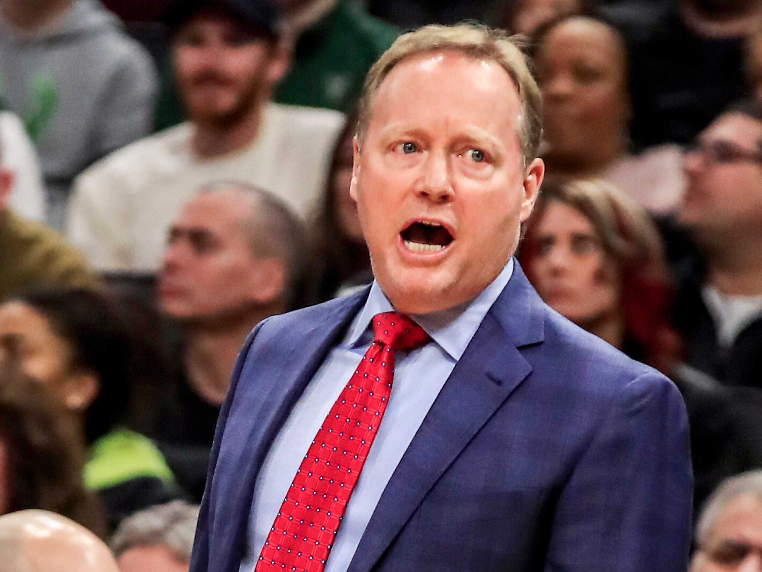 Bucks head coach Mike Budenholzer gets on the refs as his team takes on the Heat.