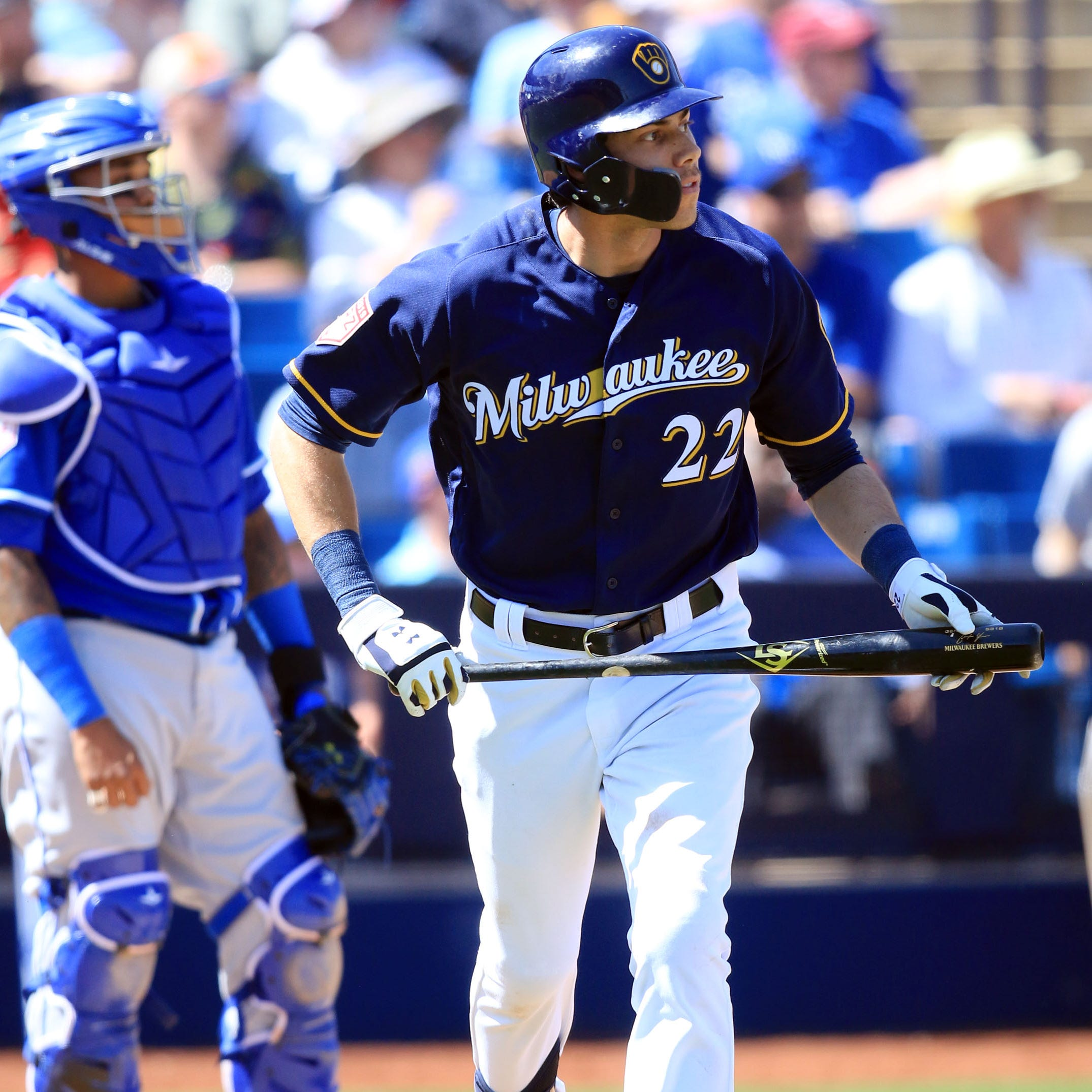 Camp report: Christian Yelich drills long homer in final Cactus League at-bat