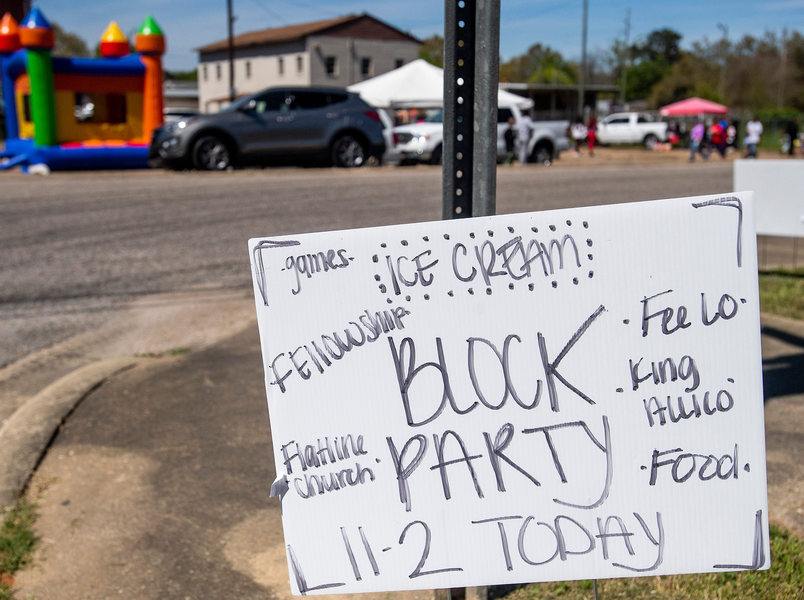 Flatline Church hosts a block party for the Chisholm neighborhood in Montgomery, Ala., on Saturday March 23, 2019.