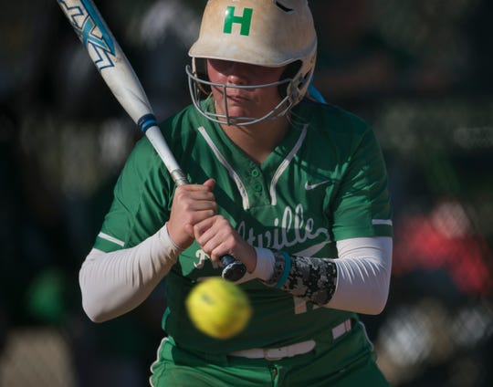 Holtville's Kaylyn Dismukes (17) watches the ball as she is up to bat against Gardendale during the Alex Wilcox Memorial Softball Tournament at Lagoon Park in Montgomery, Ala., on Saturday, March 23, 2019.