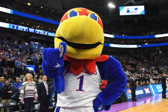 The Kansas Jayhawks mascot during the first round of the NCAA Tournament at Vivint Smart Home Arena. on March 21, 2019, in Salt Lake City.